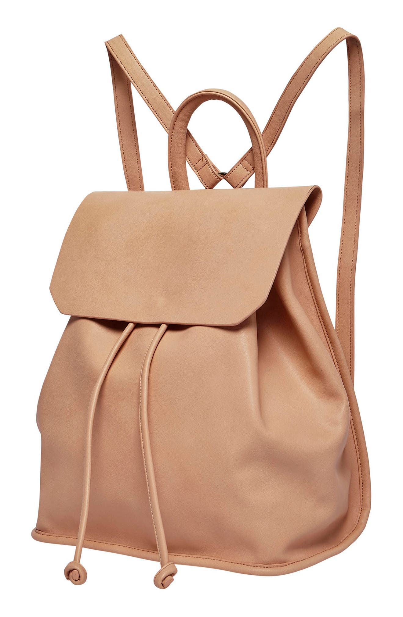 Midnight Vegan Leather Flap Backpack,                             Alternate thumbnail 8, color,
