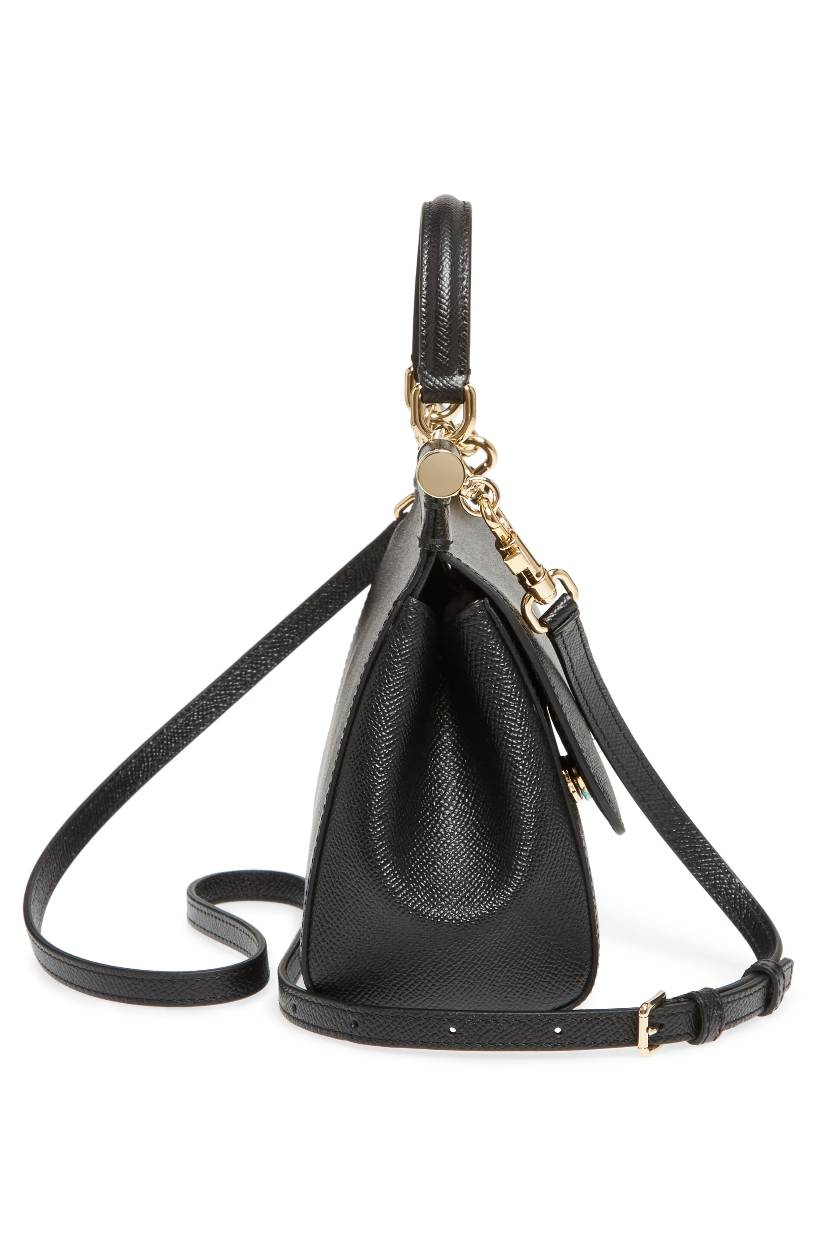 Small Miss Sicily Leather Satchel,                             Alternate thumbnail 5, color,                             002