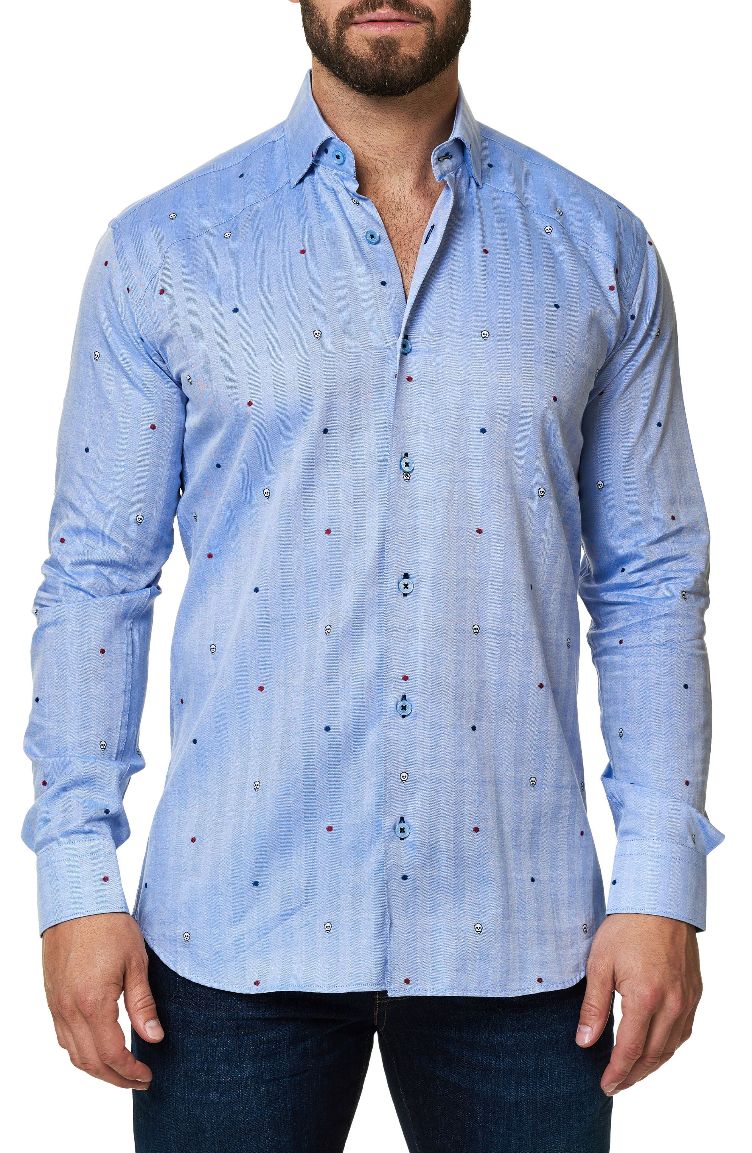 Trim Fit Embroidered Sport Shirt,                         Main,                         color, 420
