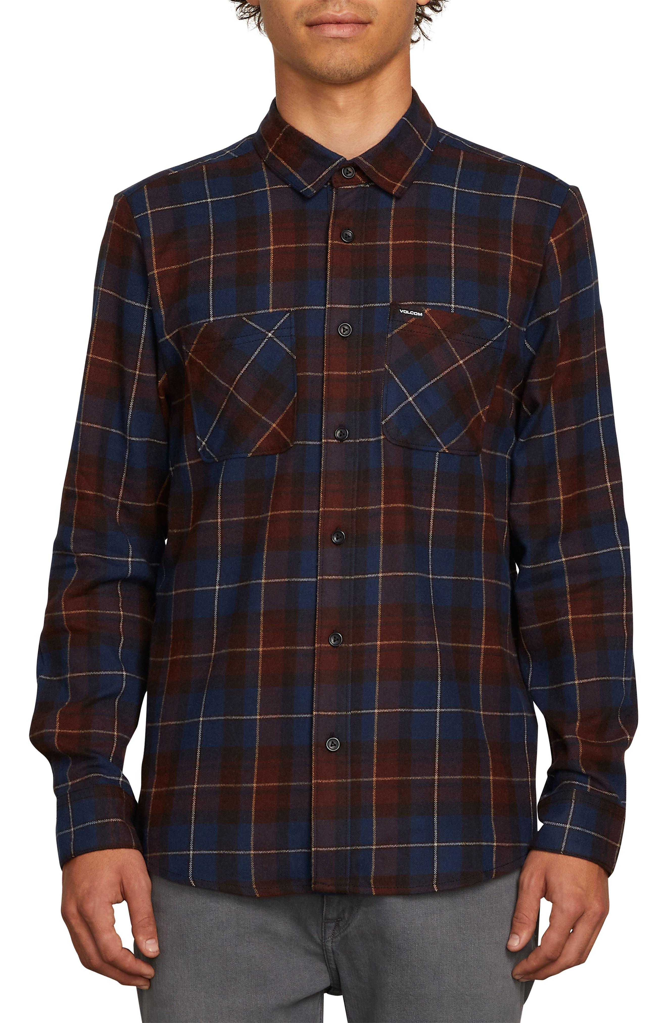 Volcom Lumberg Long Sleeve Flannel Woven Shirt, Green