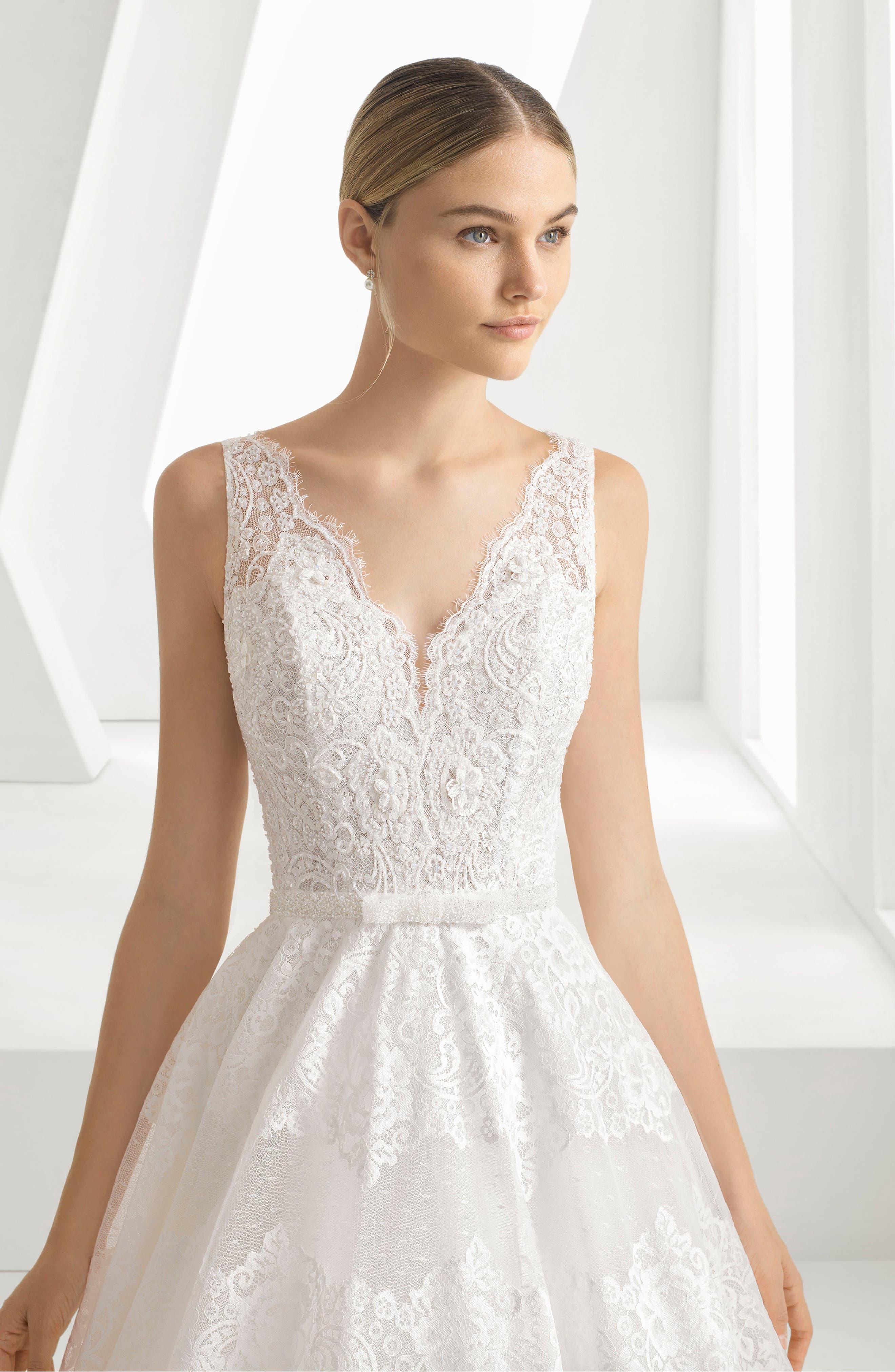 Delfina Lace & Bead A-Line Gown,                             Alternate thumbnail 3, color,                             NATURAL