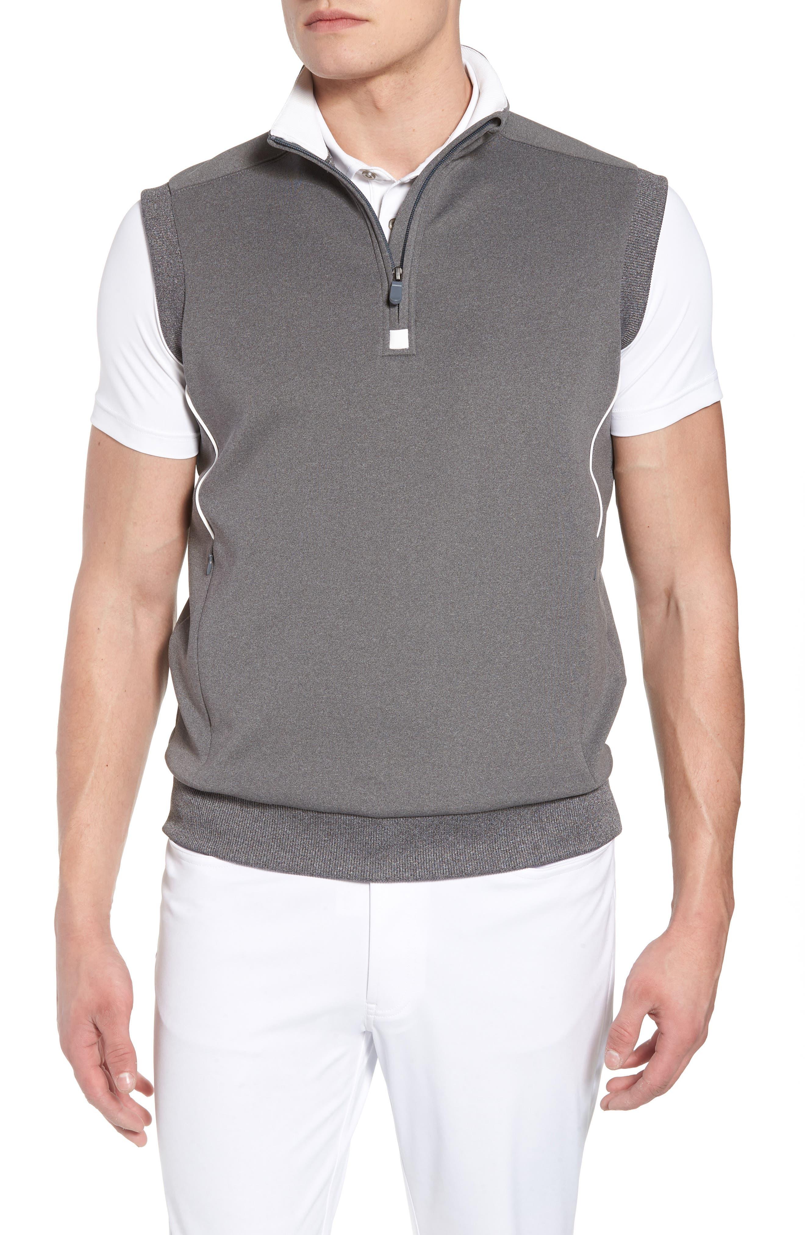 Quarter Zip Tech Vest,                         Main,                         color, GRAPHITE HEATHER