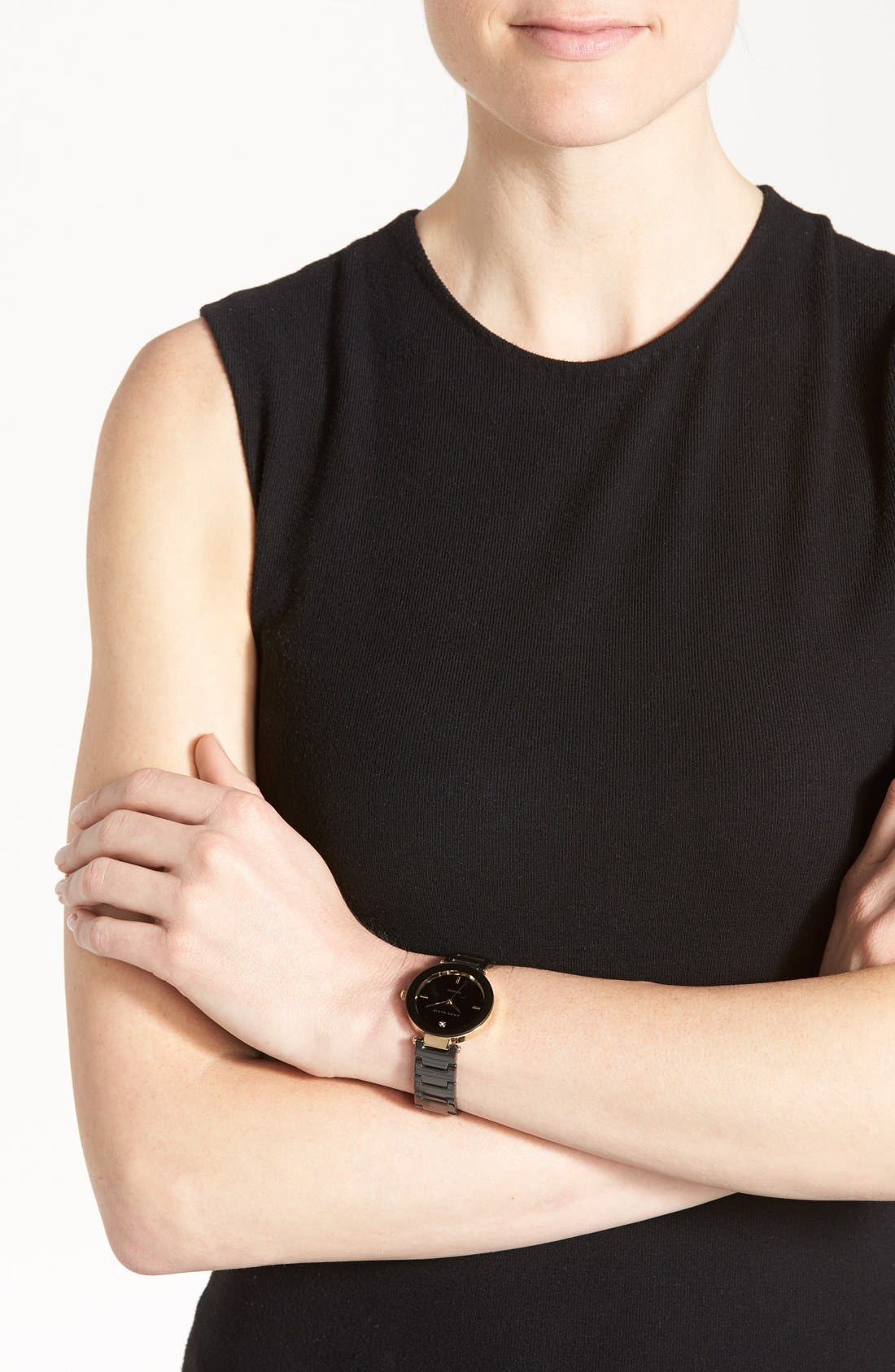 Round Ceramic Bracelet Watch, 33mm,                             Alternate thumbnail 2, color,                             BLACK