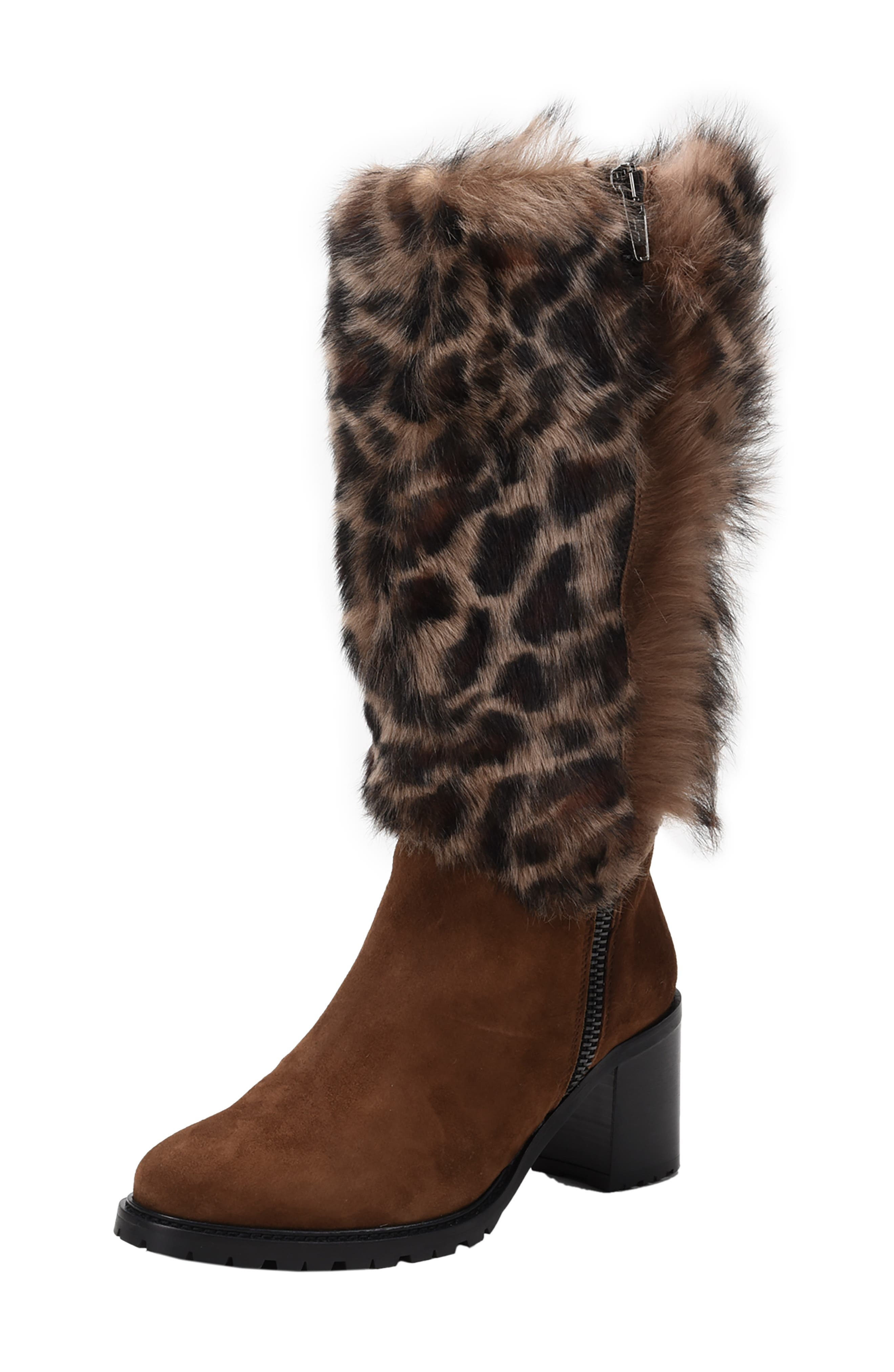 Weatherproof Genuine Shearling Boot,                             Main thumbnail 1, color,                             LEOPARD LEATHER
