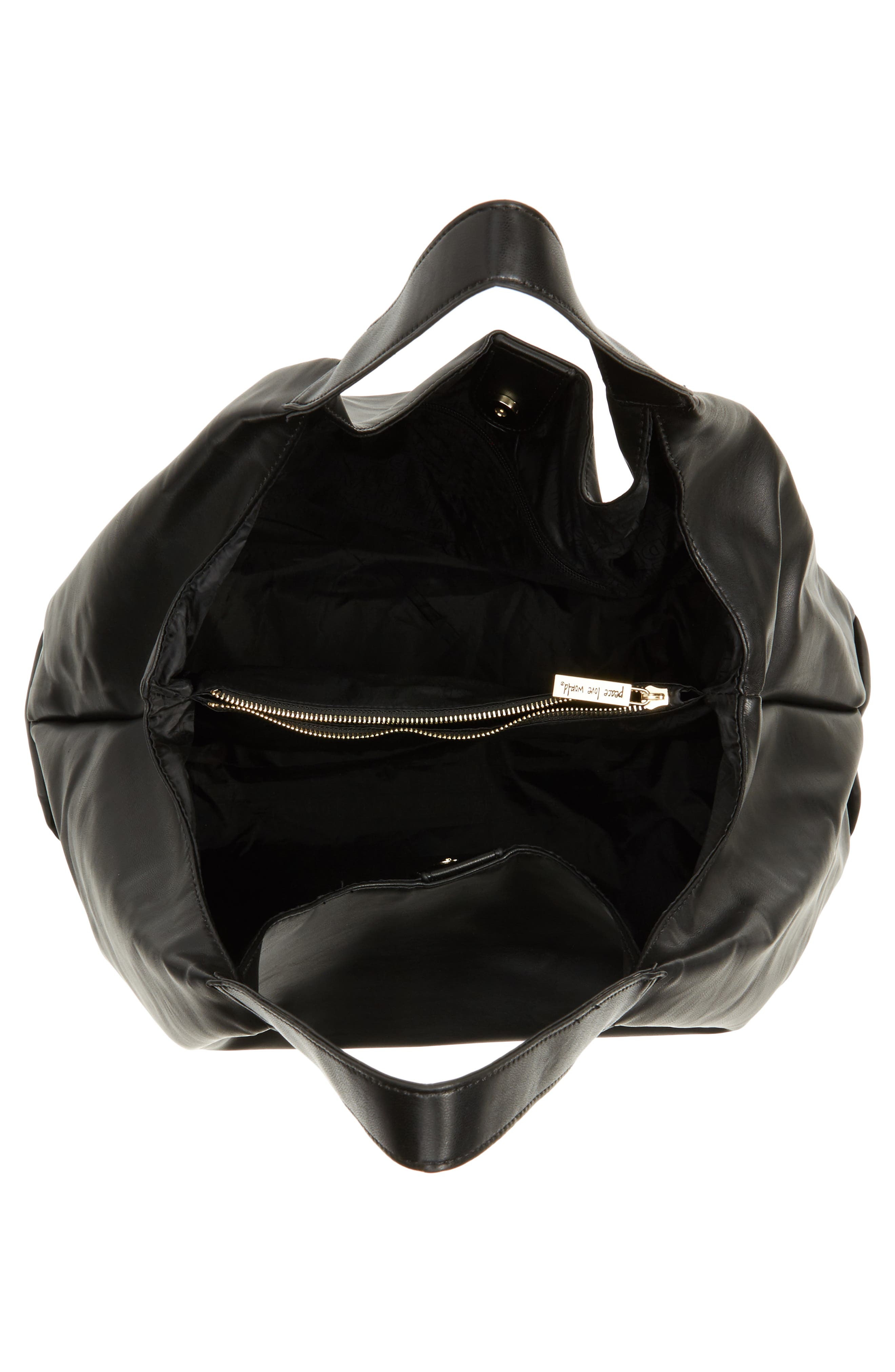 Slouchy Faux Leather Hobo,                             Alternate thumbnail 4, color,                             001