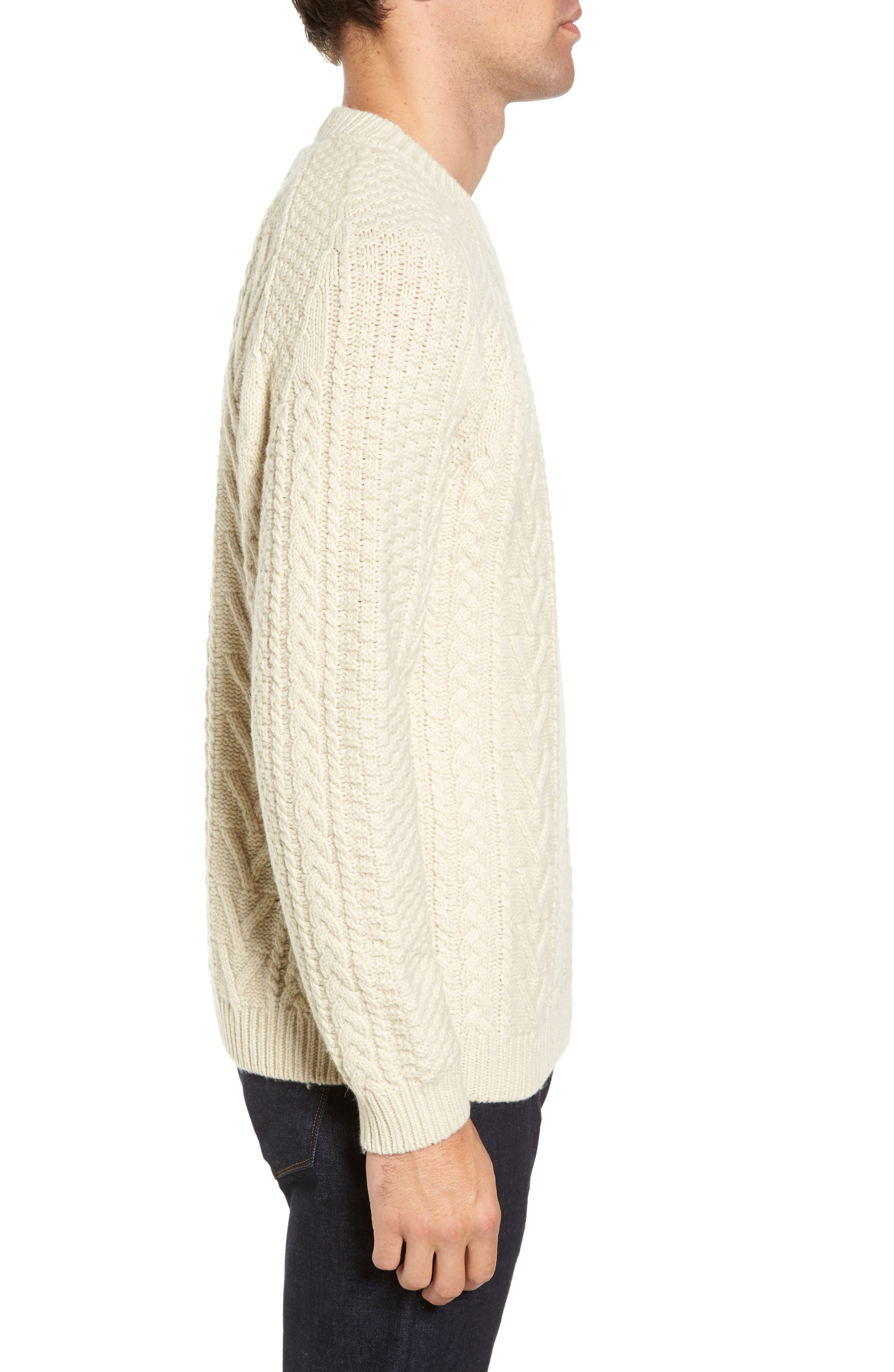 Fisherman Knit Wool Blend Sweater,                             Alternate thumbnail 3, color,                             OFF WHITE