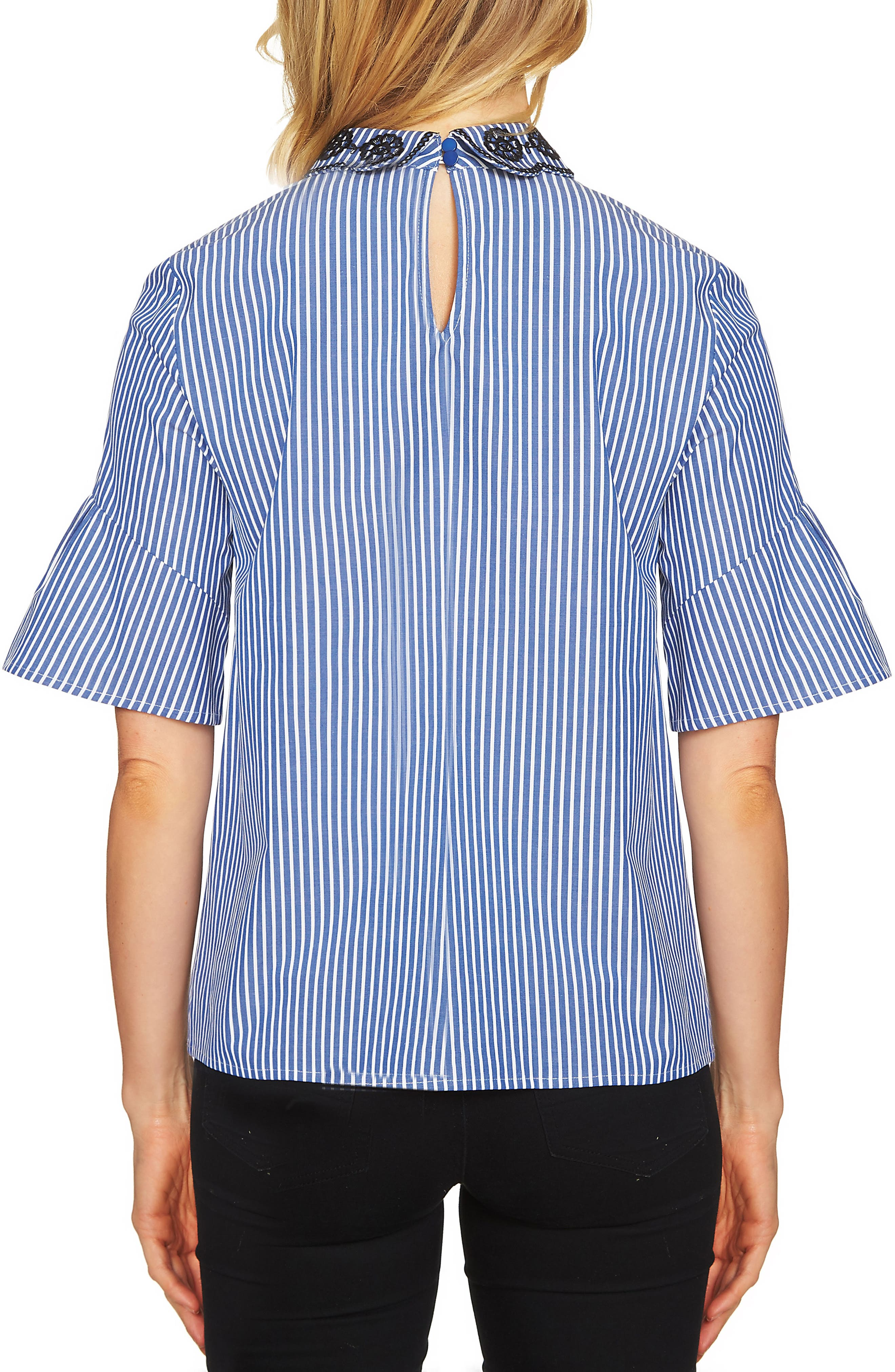 Ruffle Sleeve Stripe Top,                             Alternate thumbnail 2, color,                             406