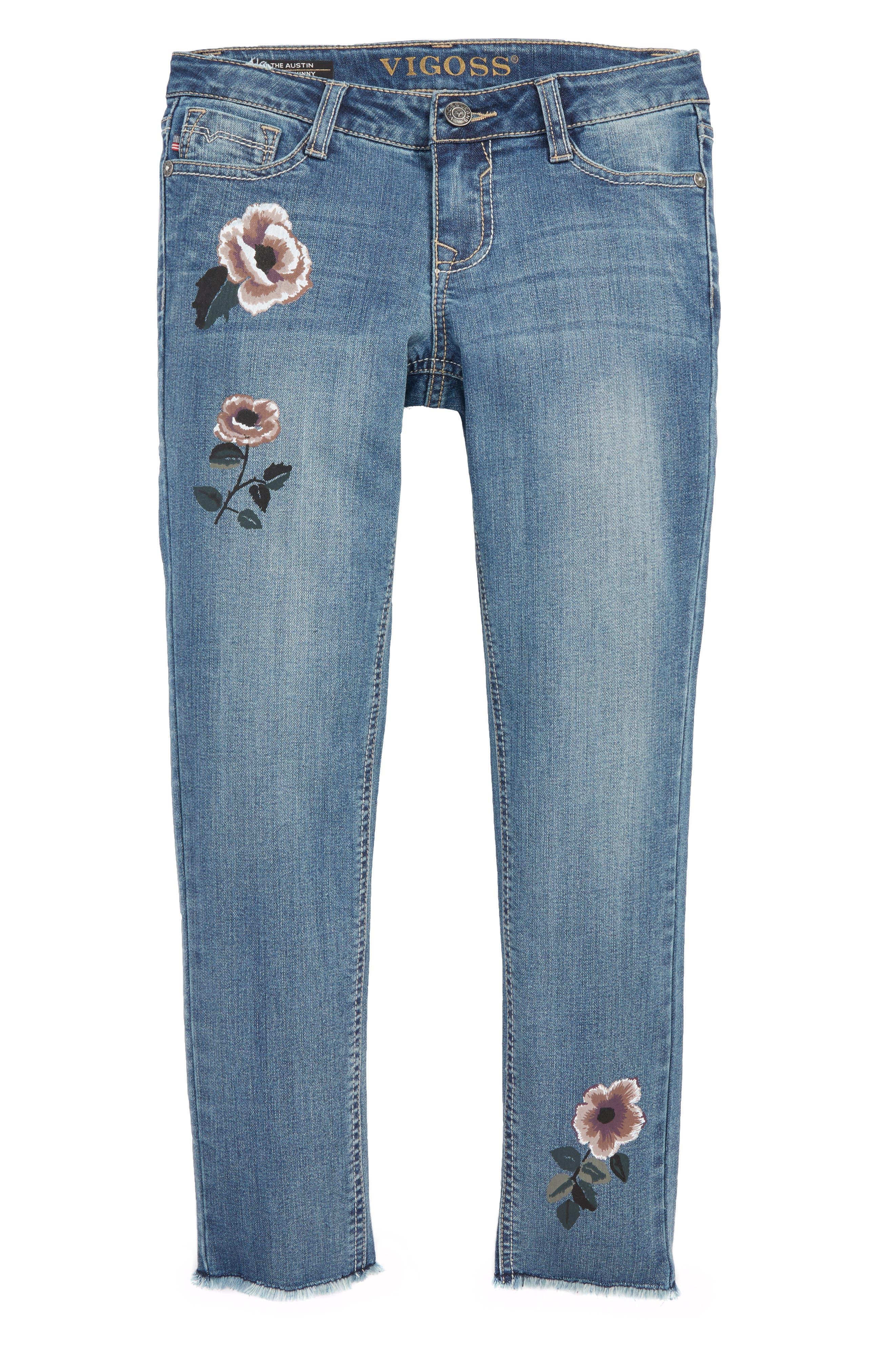 Flower Print Raw Hem Jeans,                             Main thumbnail 1, color,                             400