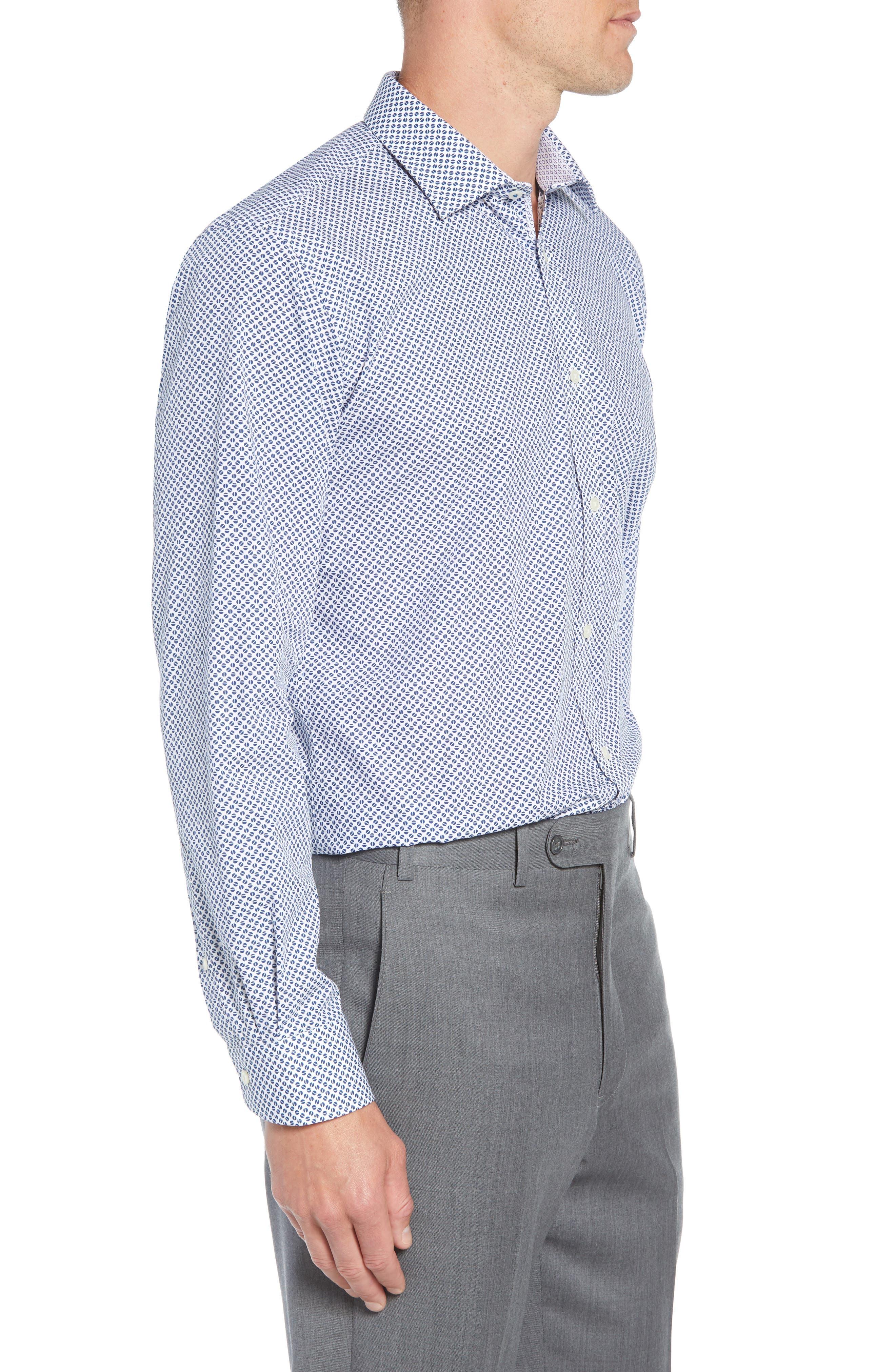 Maratha Trim Fit Print Dress Shirt,                             Alternate thumbnail 4, color,                             WHITE/ BLUE