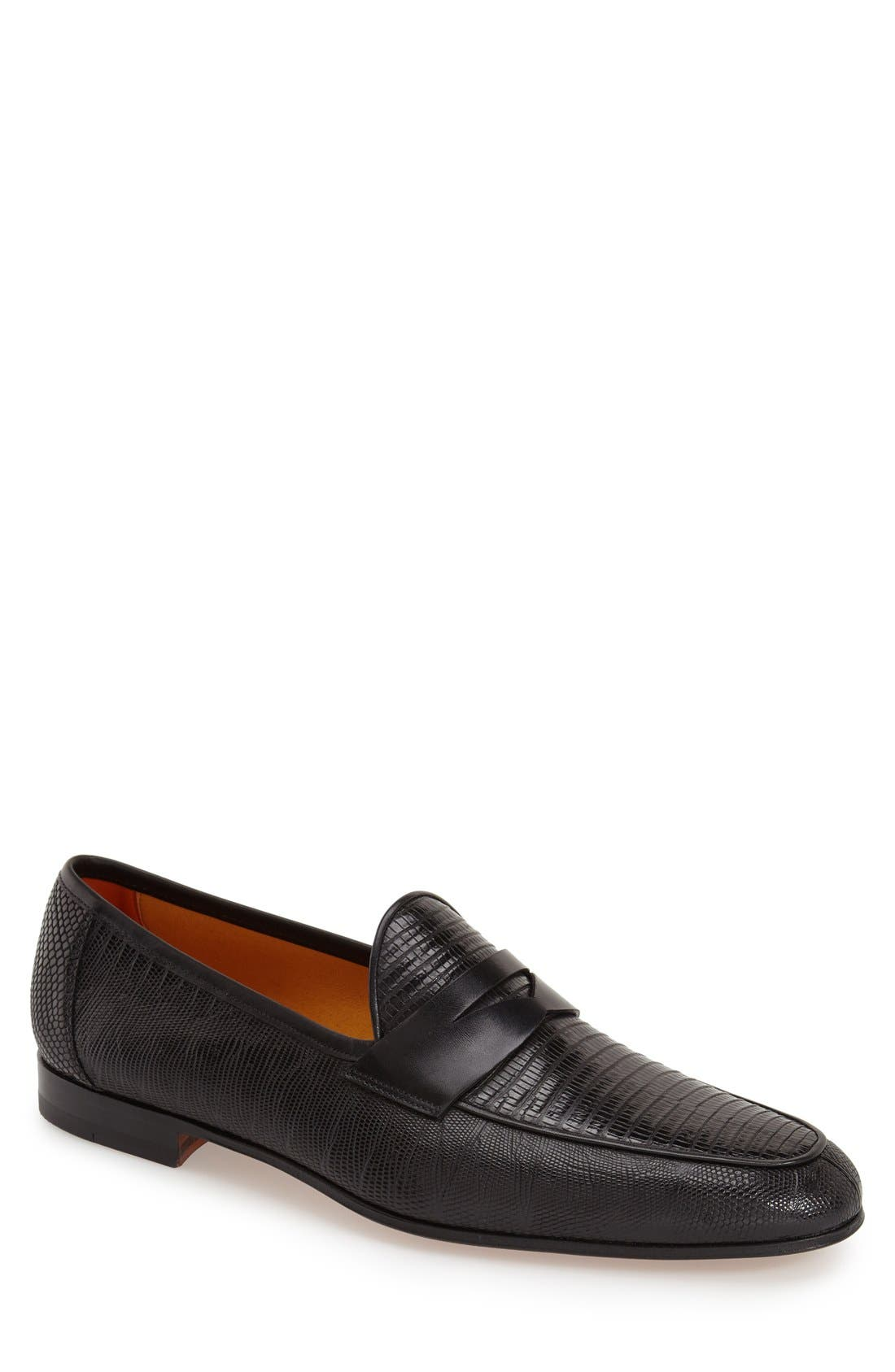 'Camerino' Lizard Penny Loafer,                             Main thumbnail 1, color,                             001