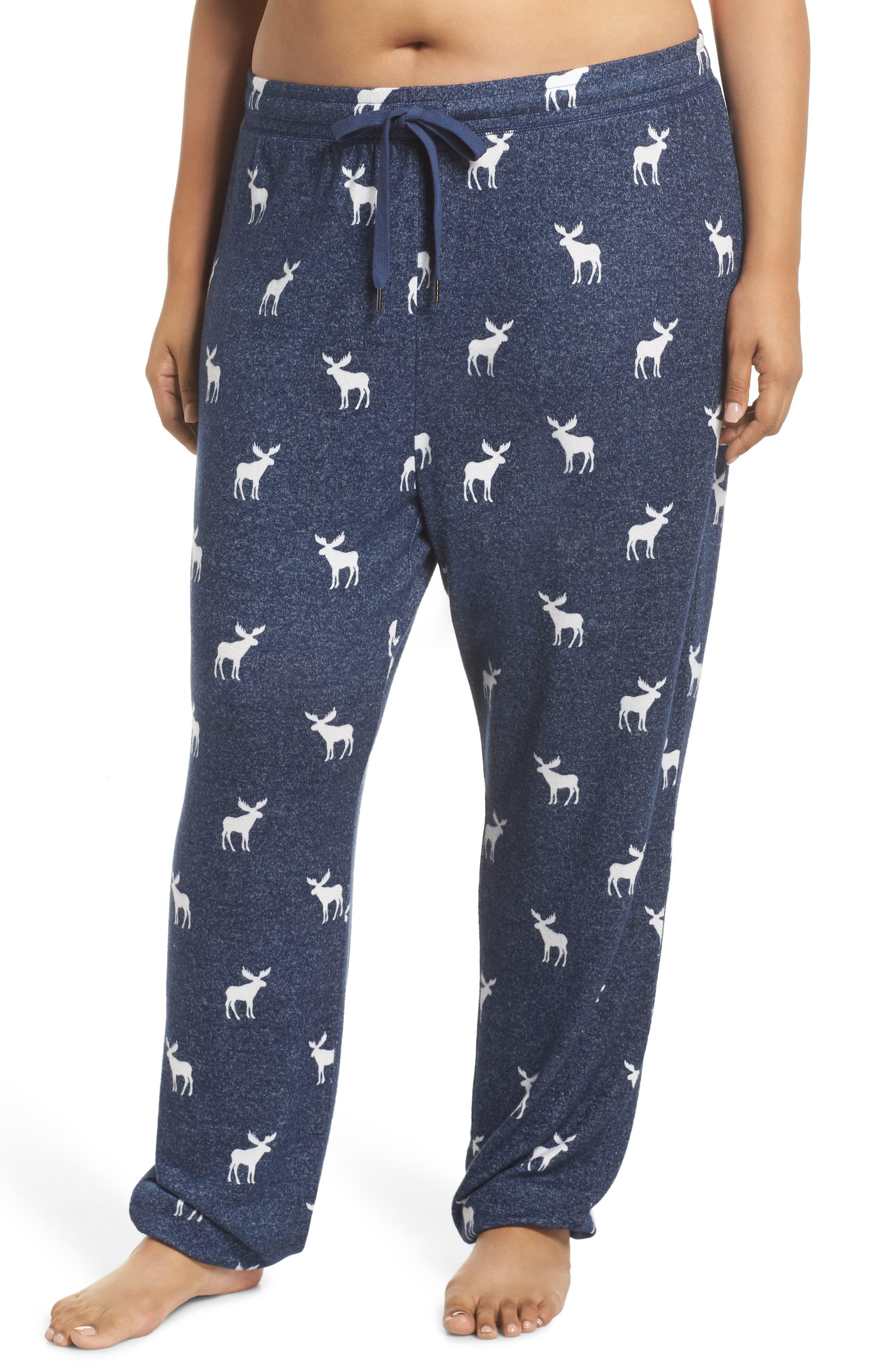 Moose Print Banded Pajama Pants,                             Main thumbnail 1, color,                             NAVY