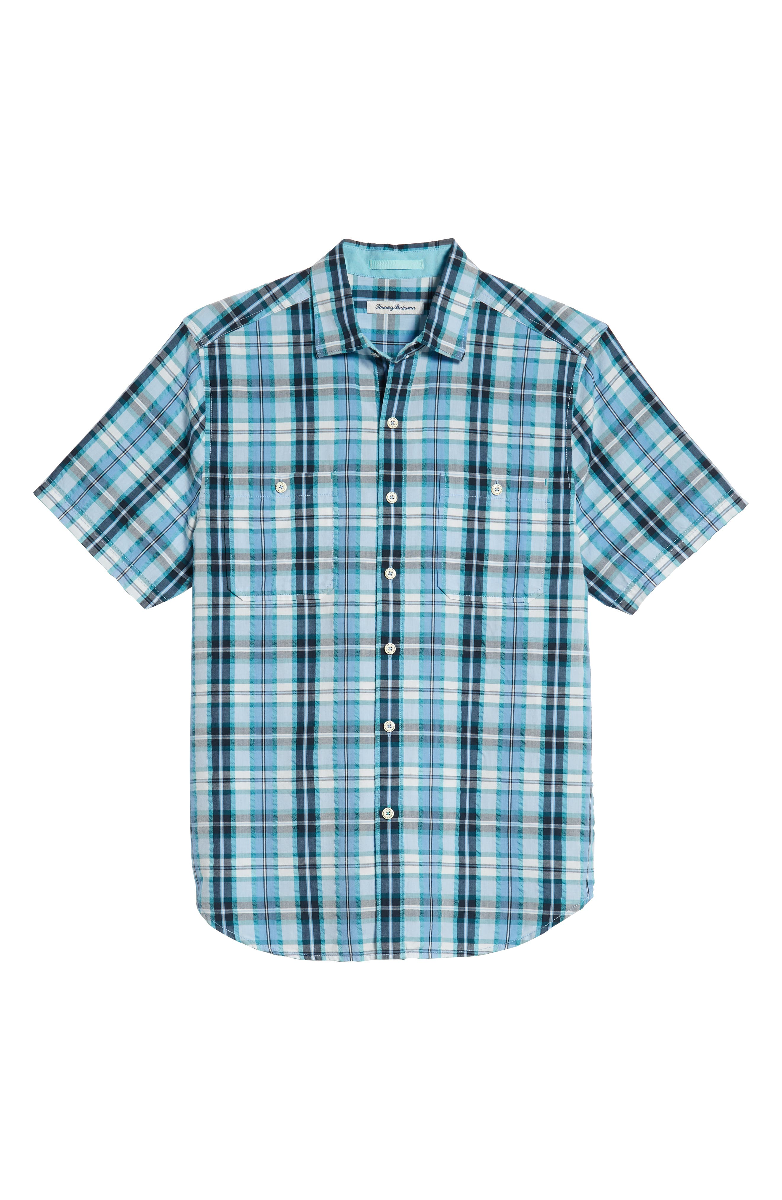 Papagayo Plaid Sport Shirt,                             Alternate thumbnail 5, color,                             RIVIERA AZURE