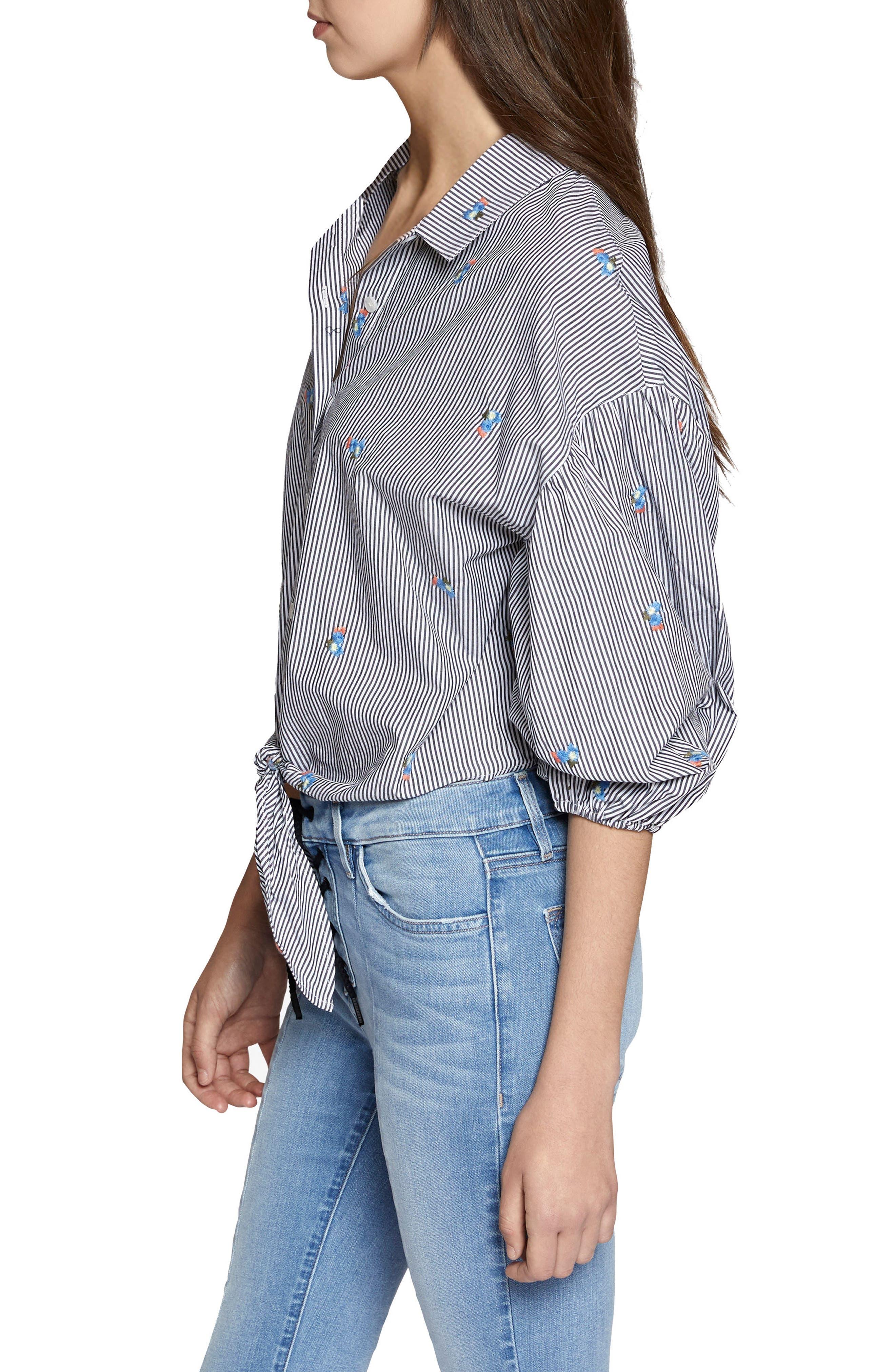 Clover Tie Front Cotton Shirt,                             Alternate thumbnail 5, color,