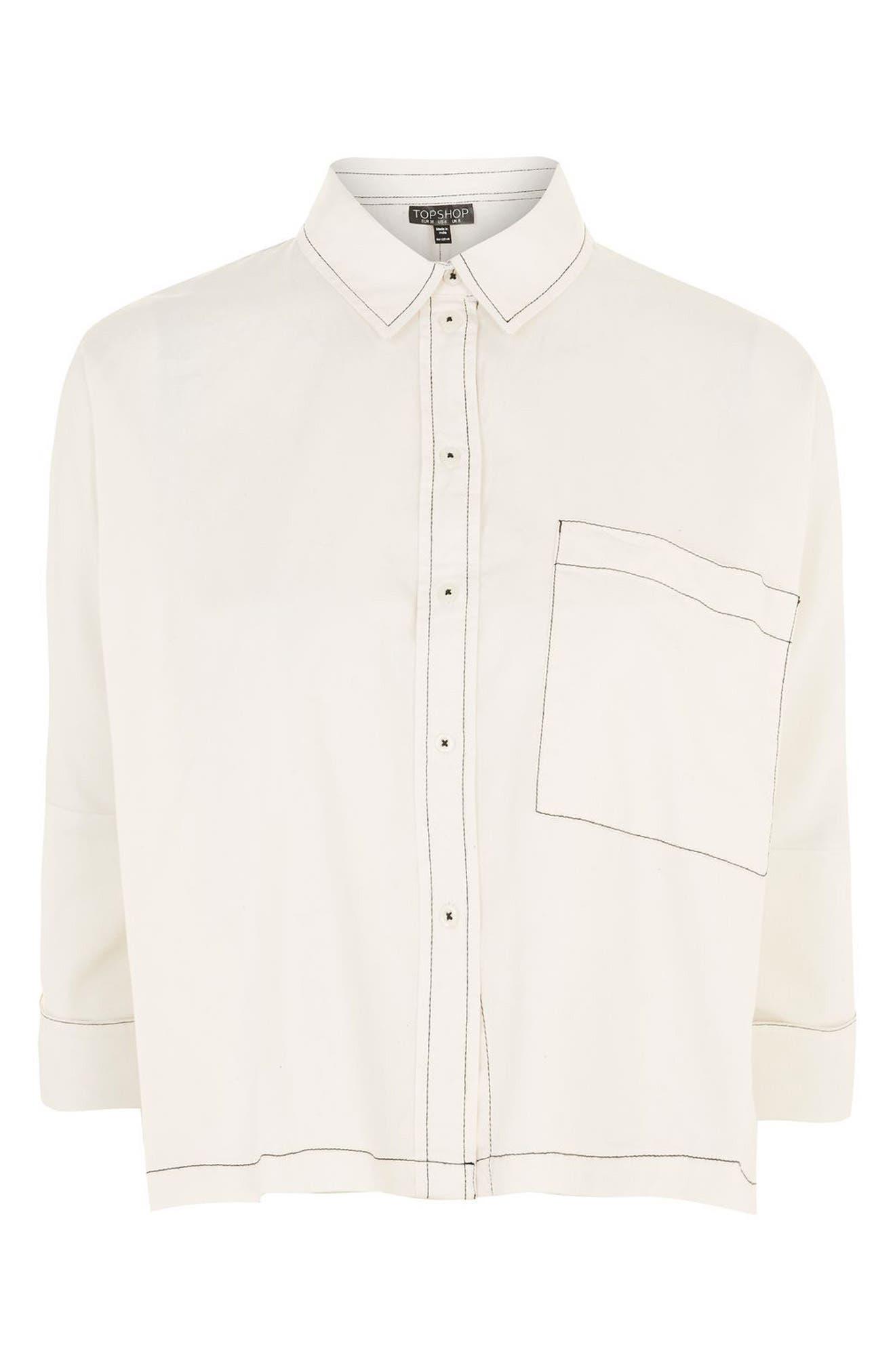 Contrast Stitch Boxy Shirt,                             Alternate thumbnail 4, color,                             900