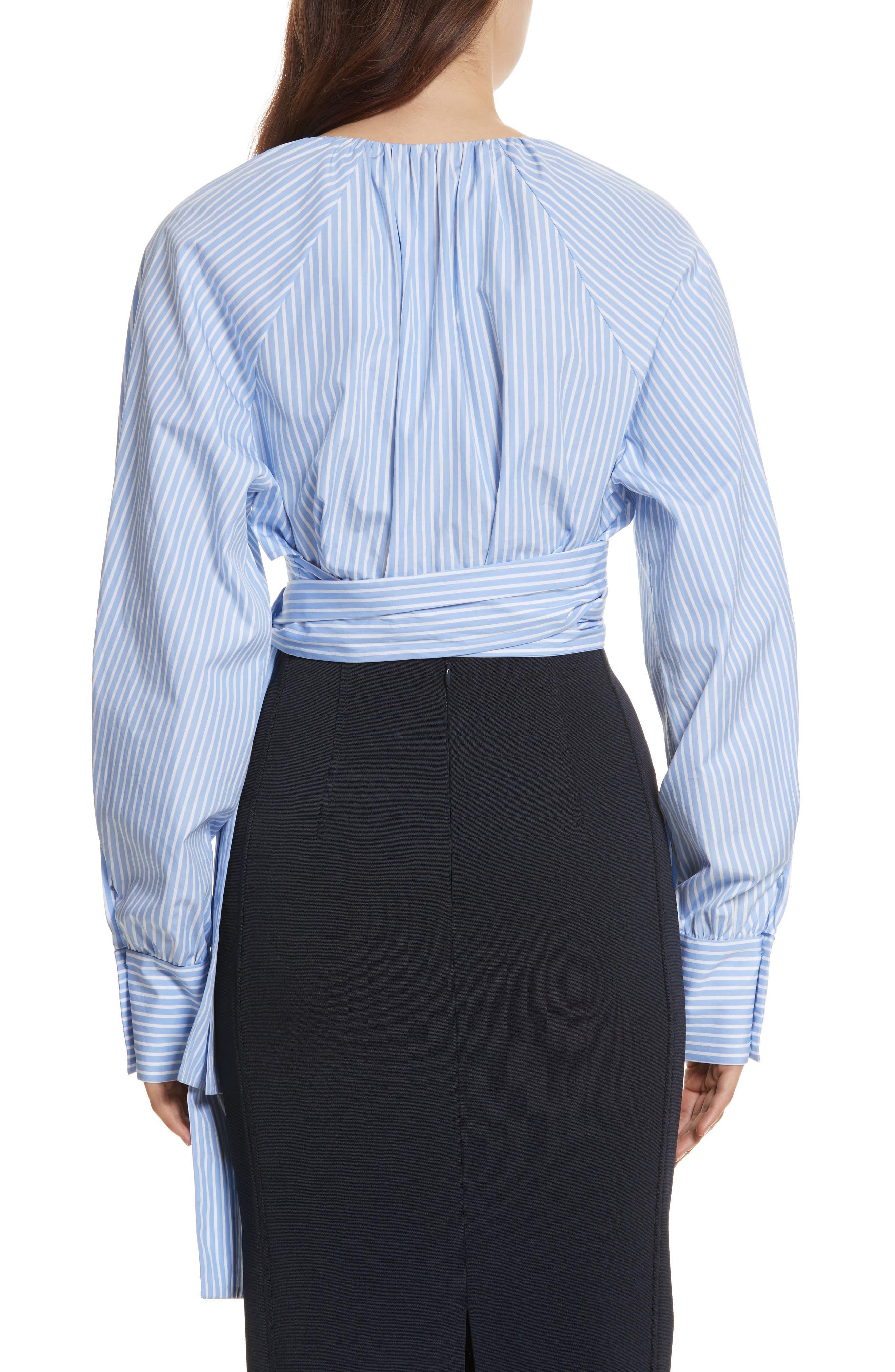 Diane von Furstenberg Keyhole Crop Cotton Blouse,                             Alternate thumbnail 2, color,
