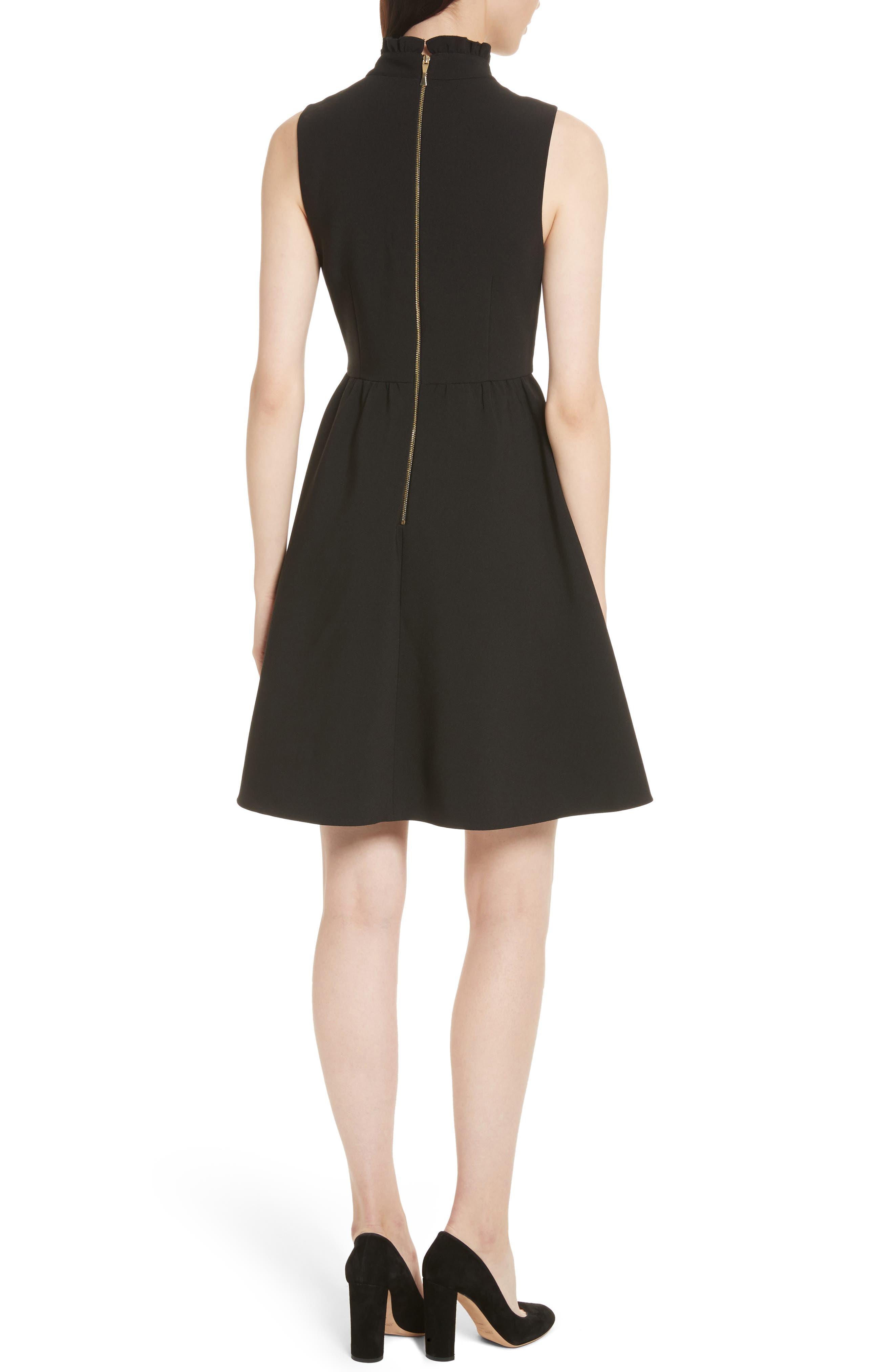 ruffle front crepe dress,                             Alternate thumbnail 2, color,                             001