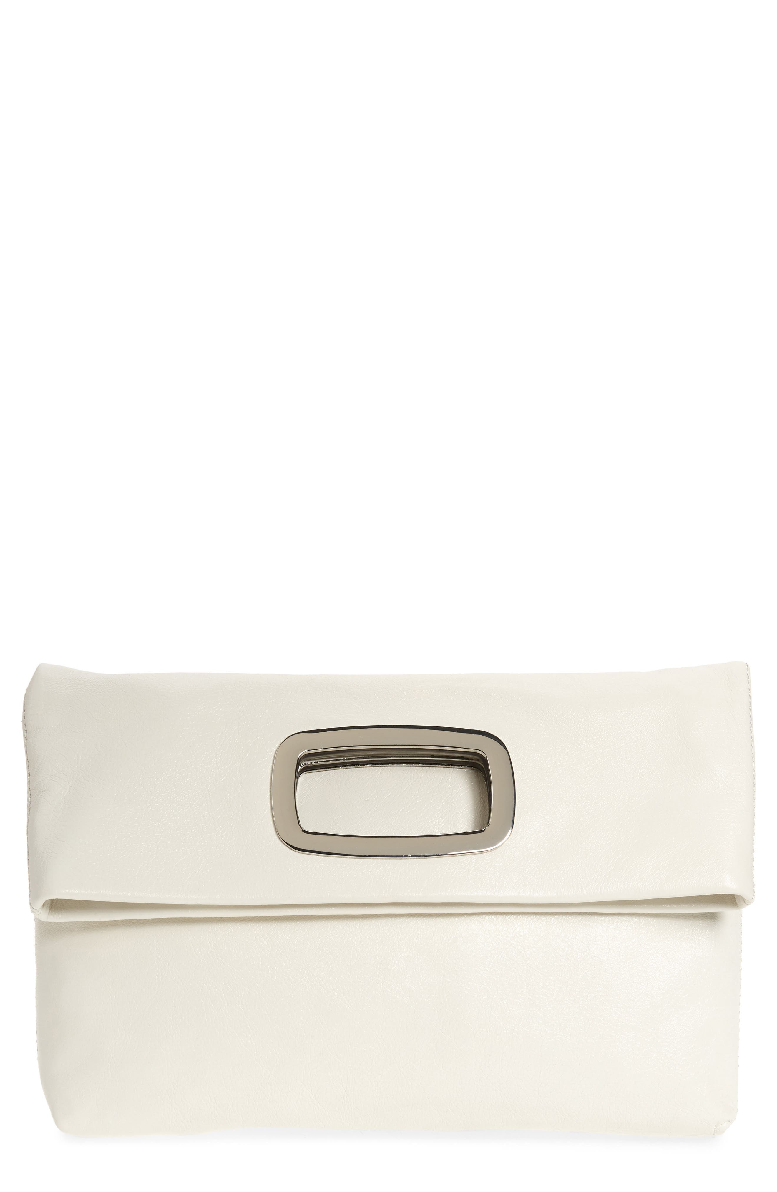 Large Marti Leather Convertible Clutch,                         Main,                         color, SNOW WHITE