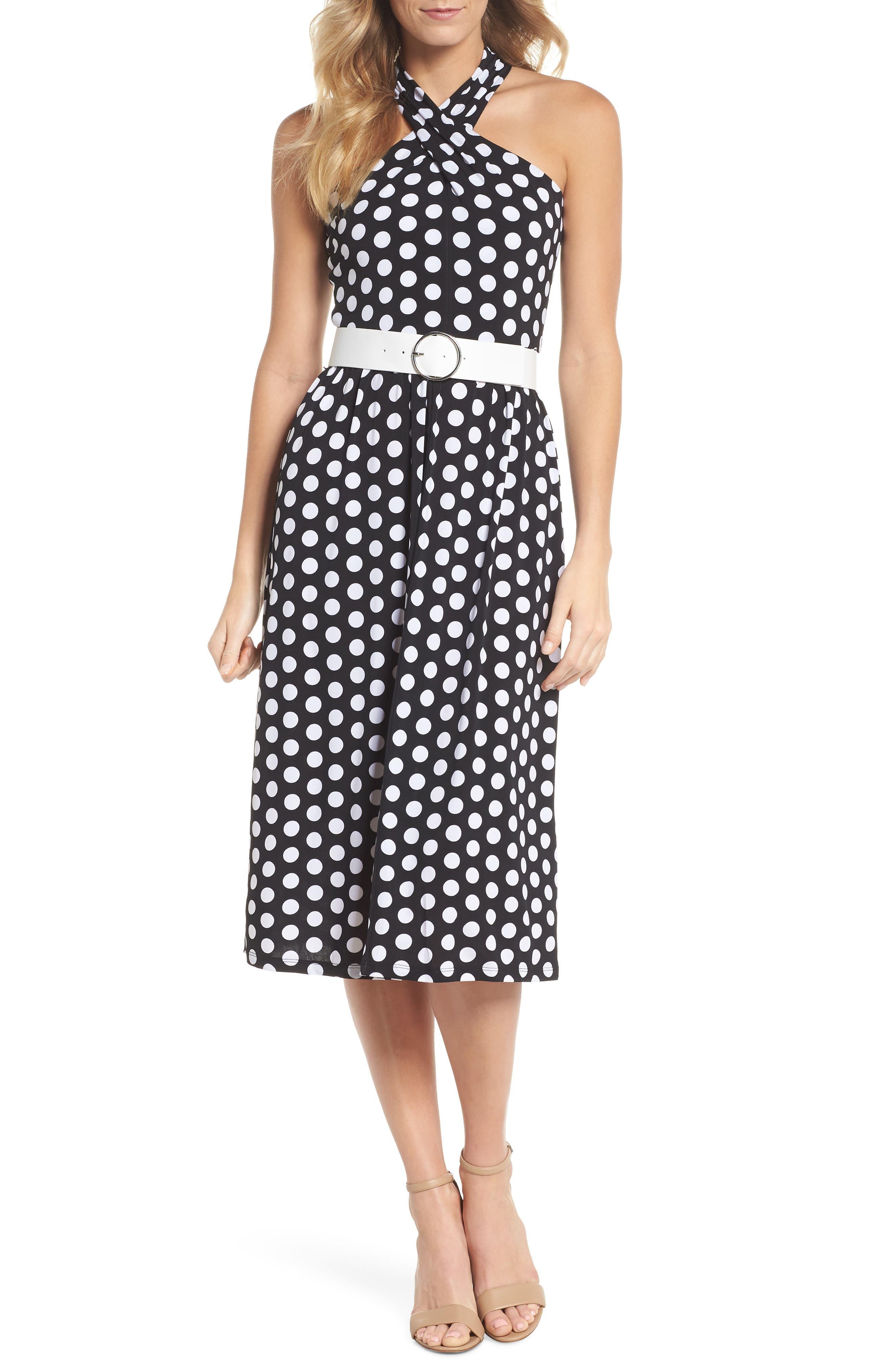 Dot Deluxe Halter Midi Dress,                             Main thumbnail 1, color,                             008