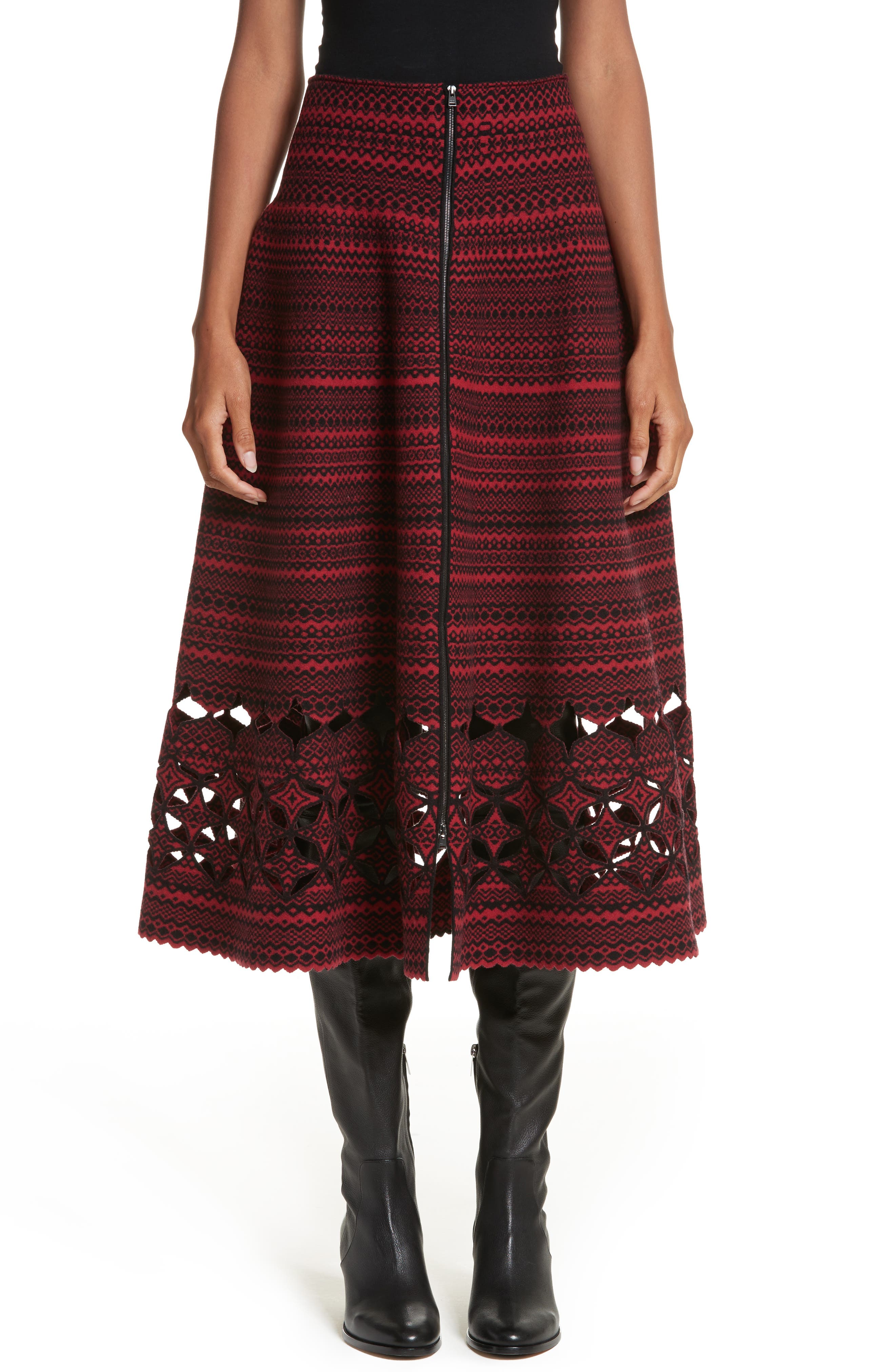 Fair Isle Wool Blend Skirt,                             Main thumbnail 1, color,                             600