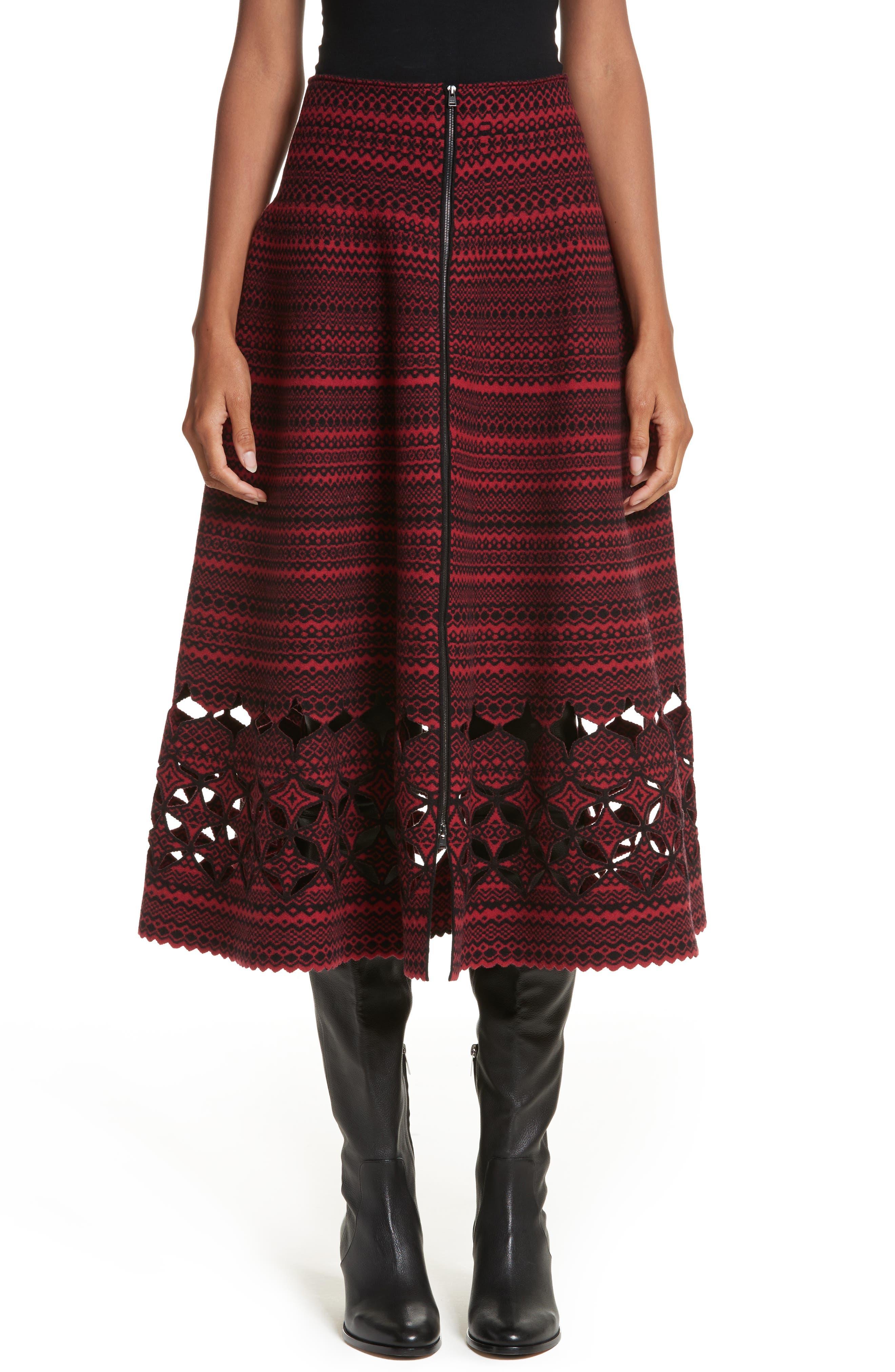 Fair Isle Wool Blend Skirt,                         Main,                         color, 600