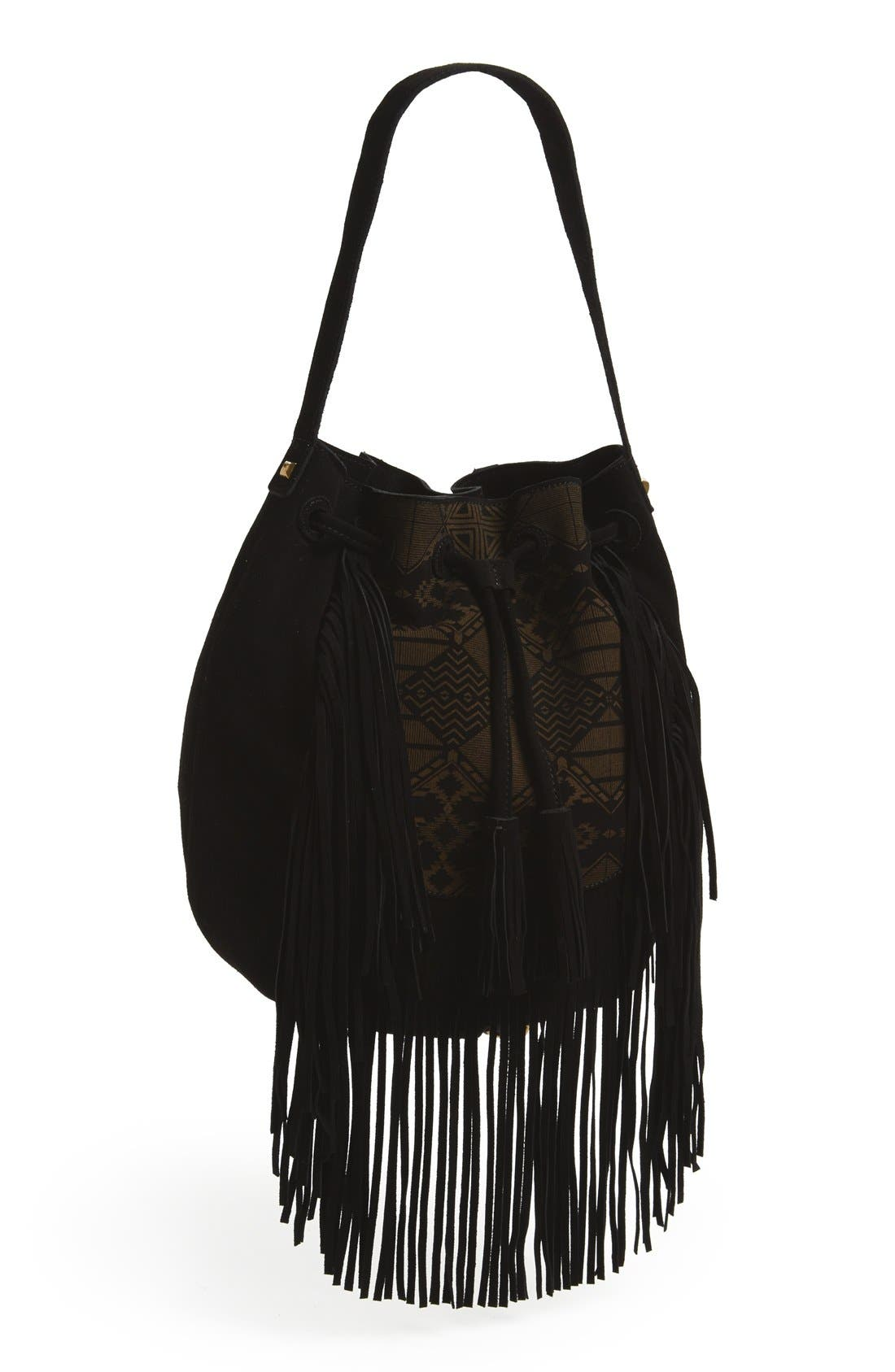 Fringed Shoulder Bag,                             Main thumbnail 1, color,                             001