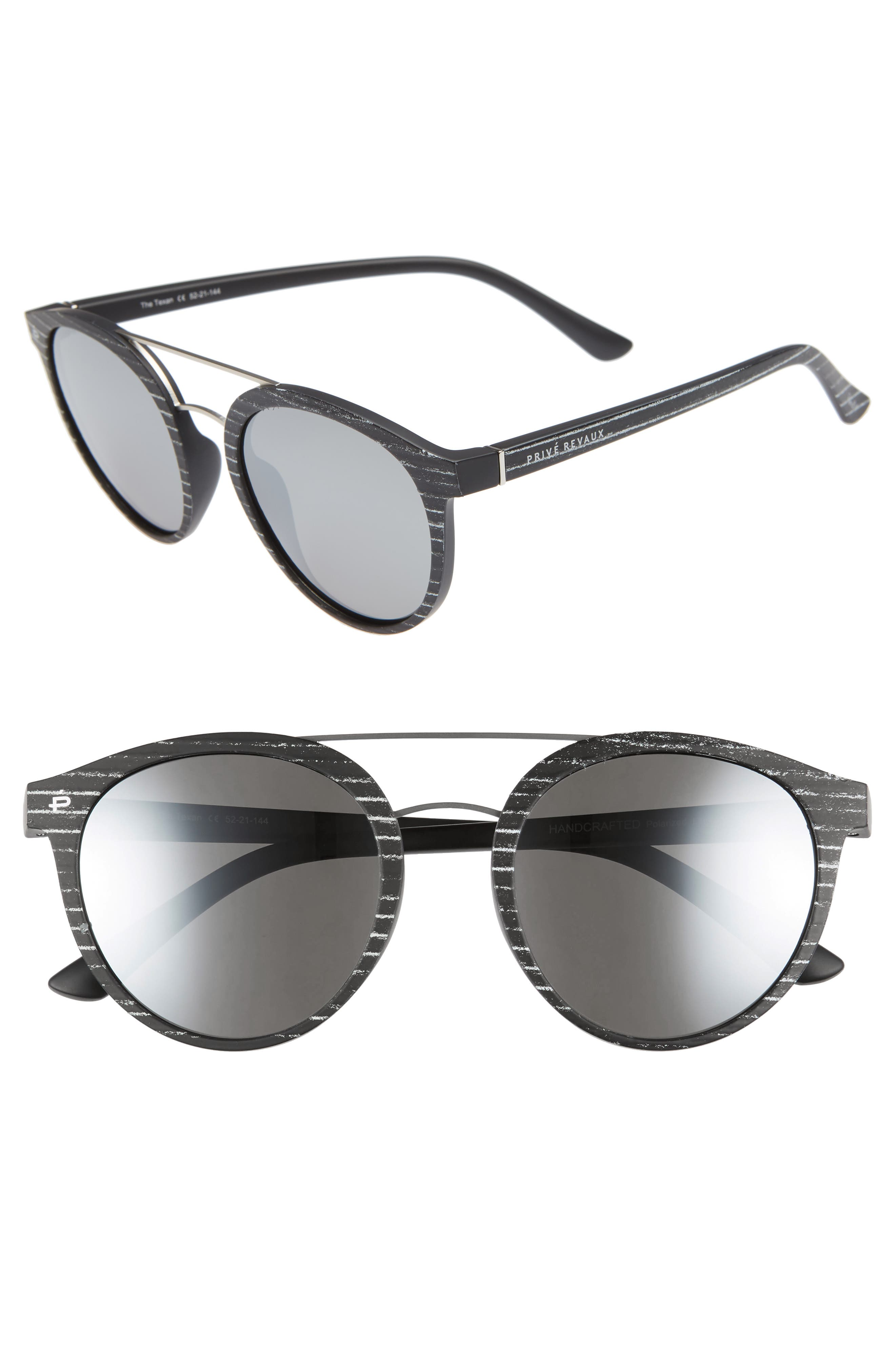 Privé Revaux The Texan 52mm Sunglasses,                             Main thumbnail 1, color,                             MATTE BLACK / PAPER