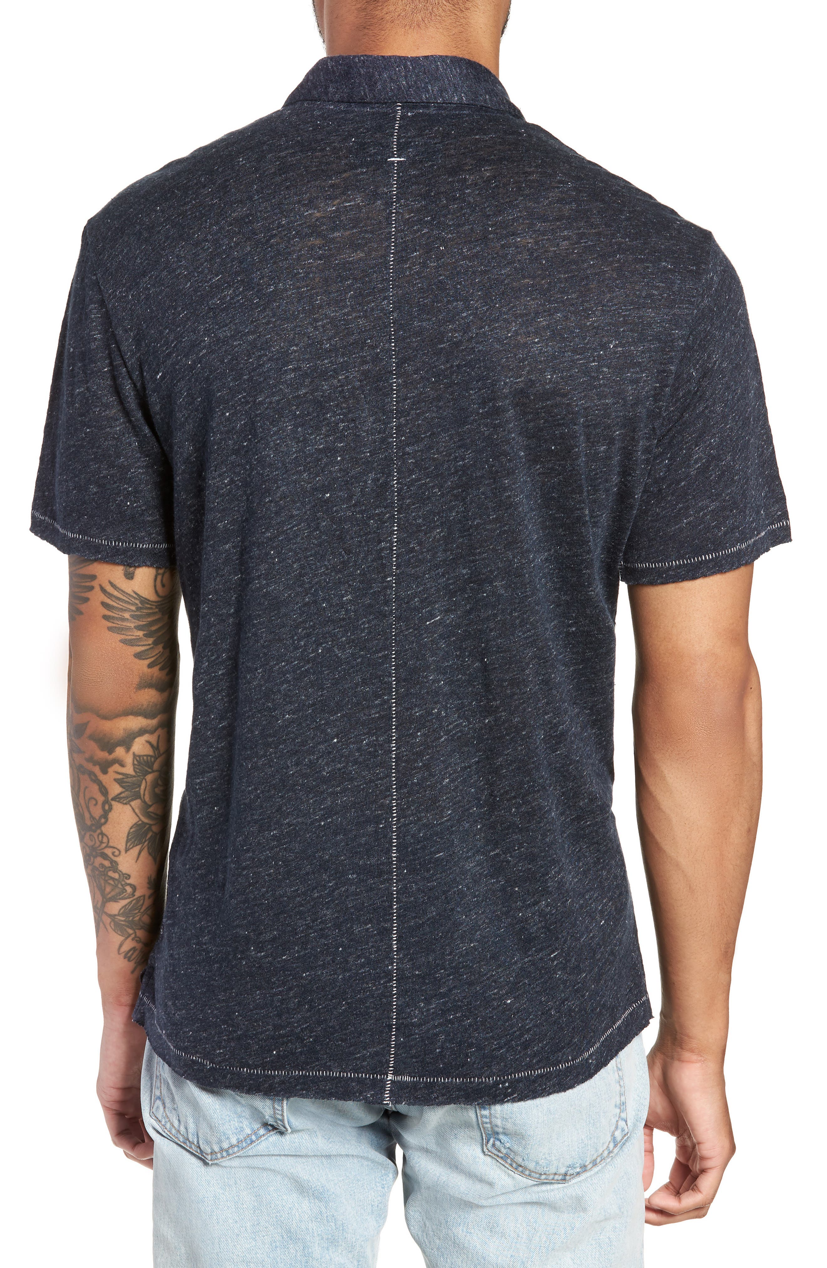 Owen Slim Fit Linen Polo Shirt,                             Alternate thumbnail 2, color,                             NAVY