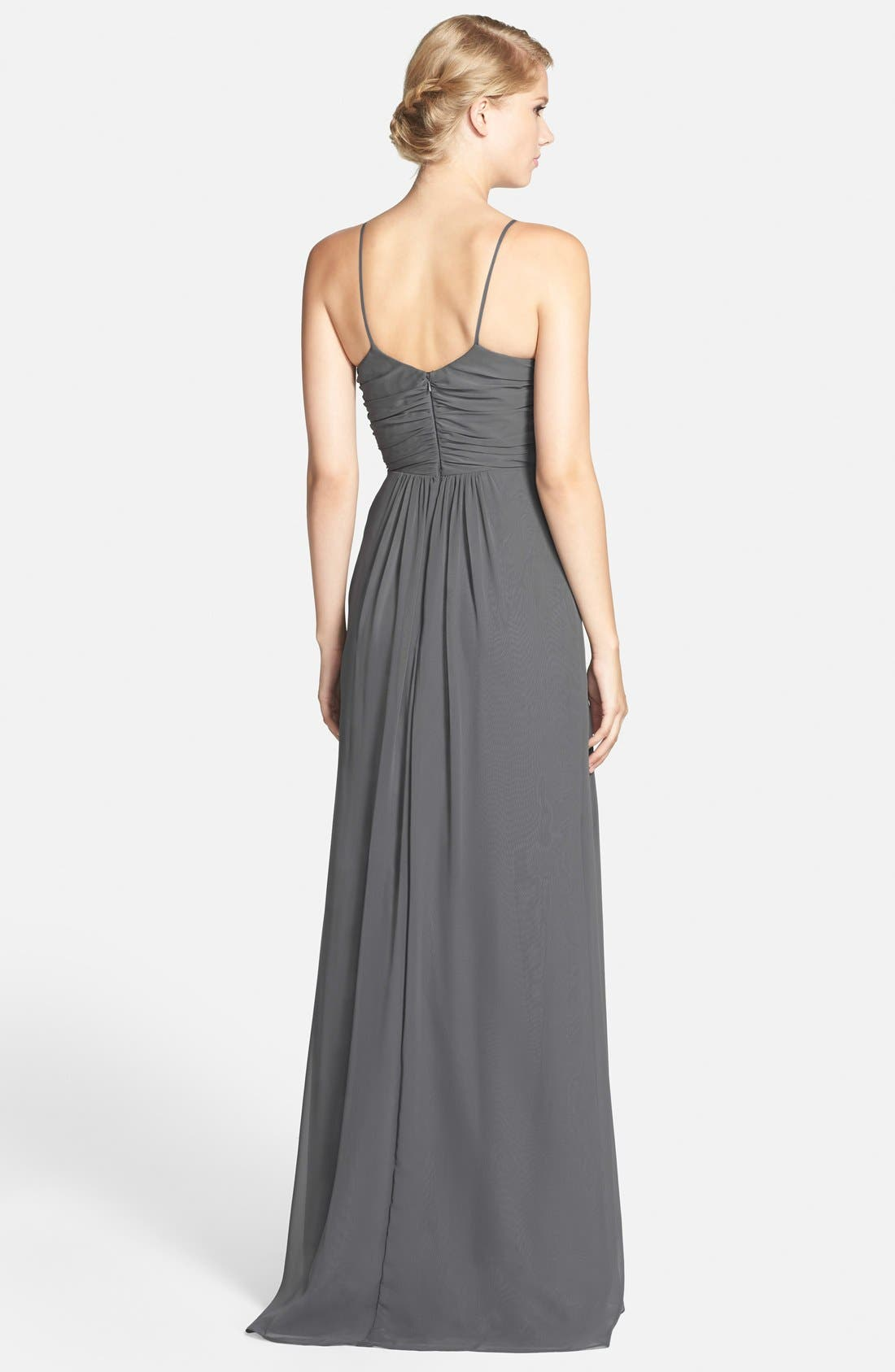 JIM HJELM OCCASIONS,                             Draped V-Neck A-Line Chiffon Gown,                             Alternate thumbnail 3, color,                             025