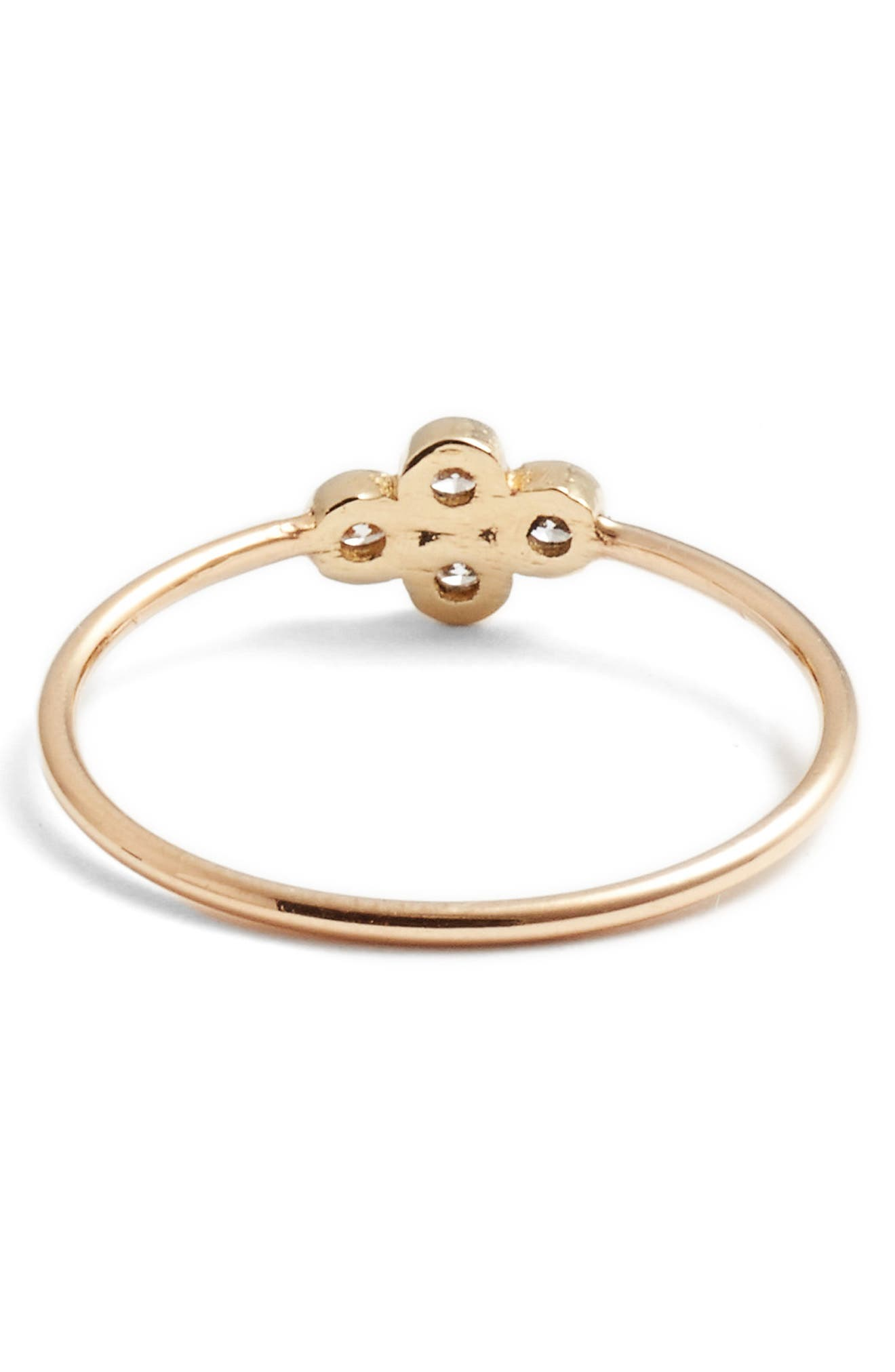 Diamond Bezel Ring,                             Alternate thumbnail 3, color,                             YELLOW GOLD