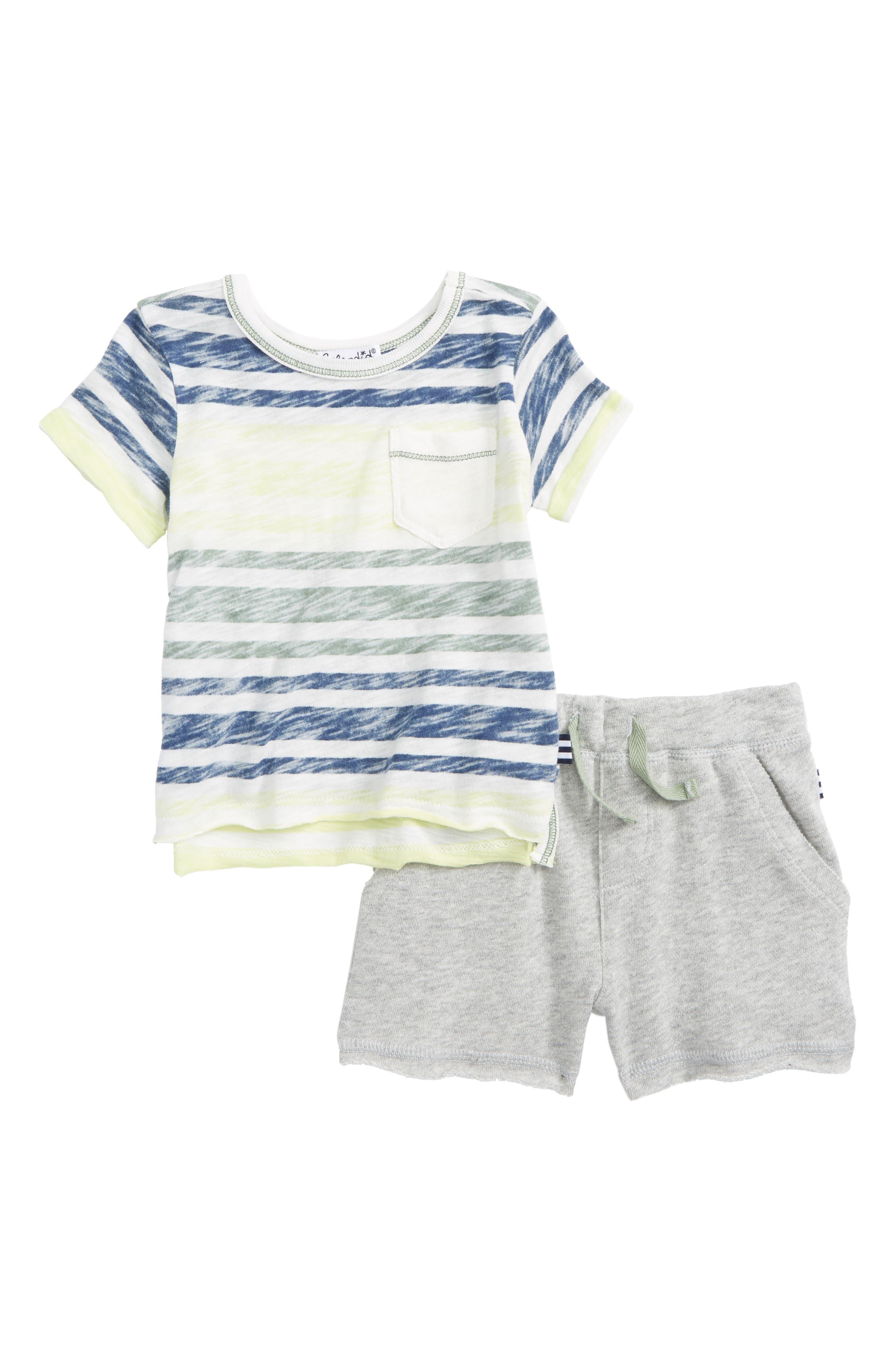 Reverse Stripe Top & Shorts Set,                             Main thumbnail 1, color,                             100