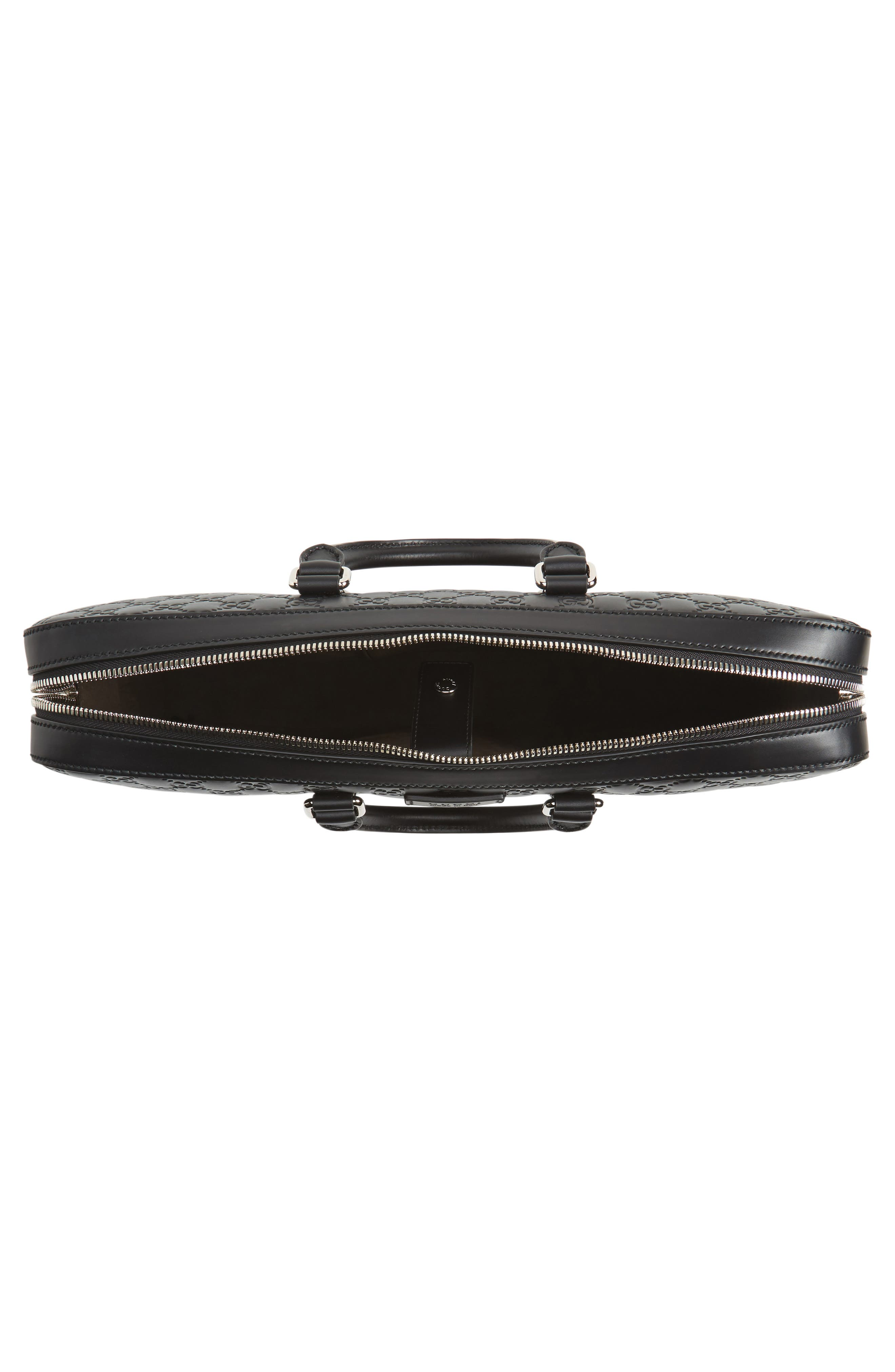 Signature Leather Briefcase,                             Alternate thumbnail 4, color,                             001