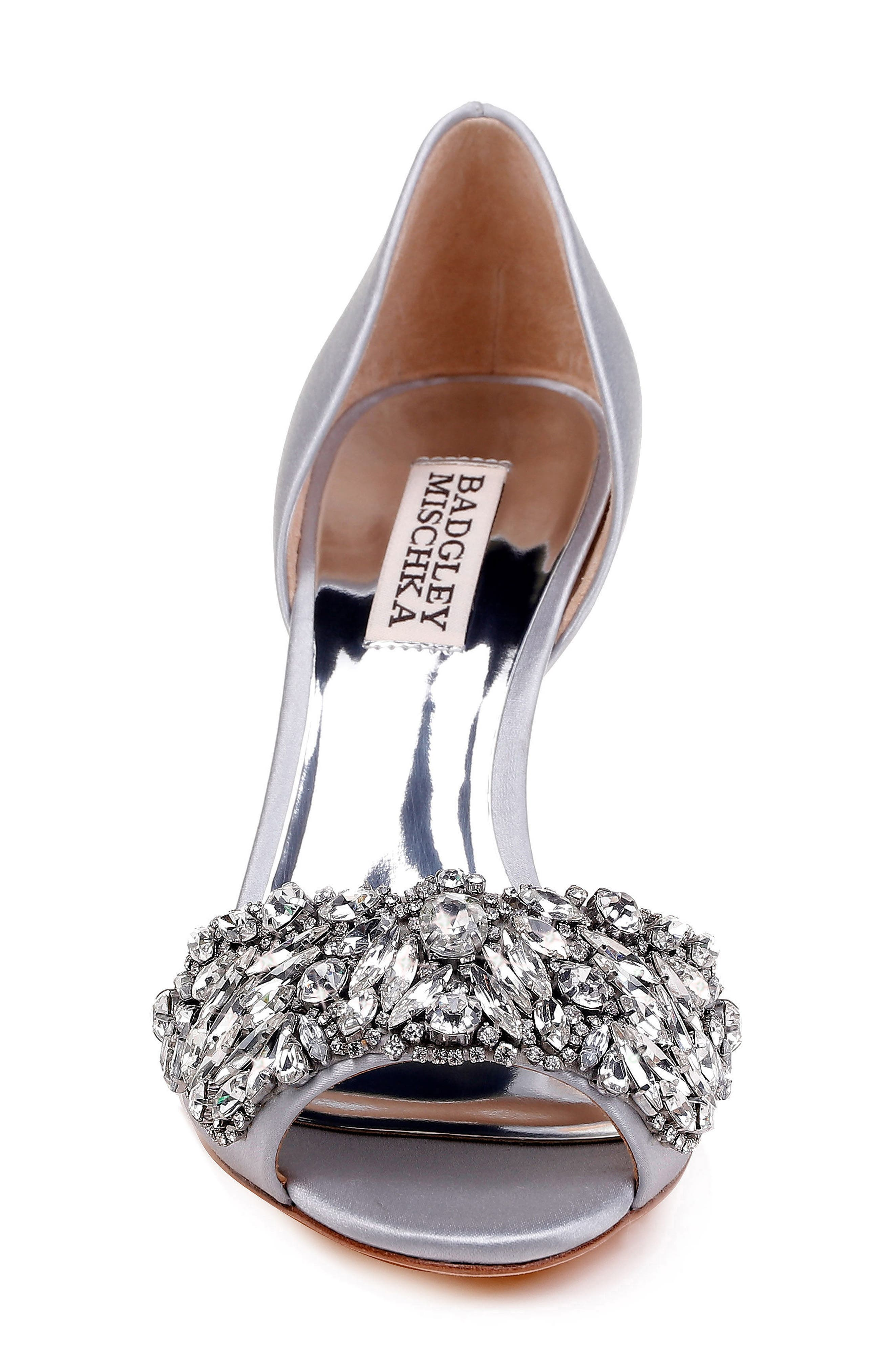 Hansen Crystal Embellished Sandal,                             Alternate thumbnail 4, color,                             SILVER SATIN