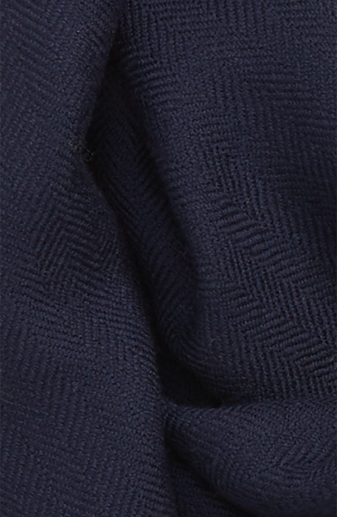 Patterned Merino Wool Scarf,                             Alternate thumbnail 3, color,                             NAVY HERRINGBONE