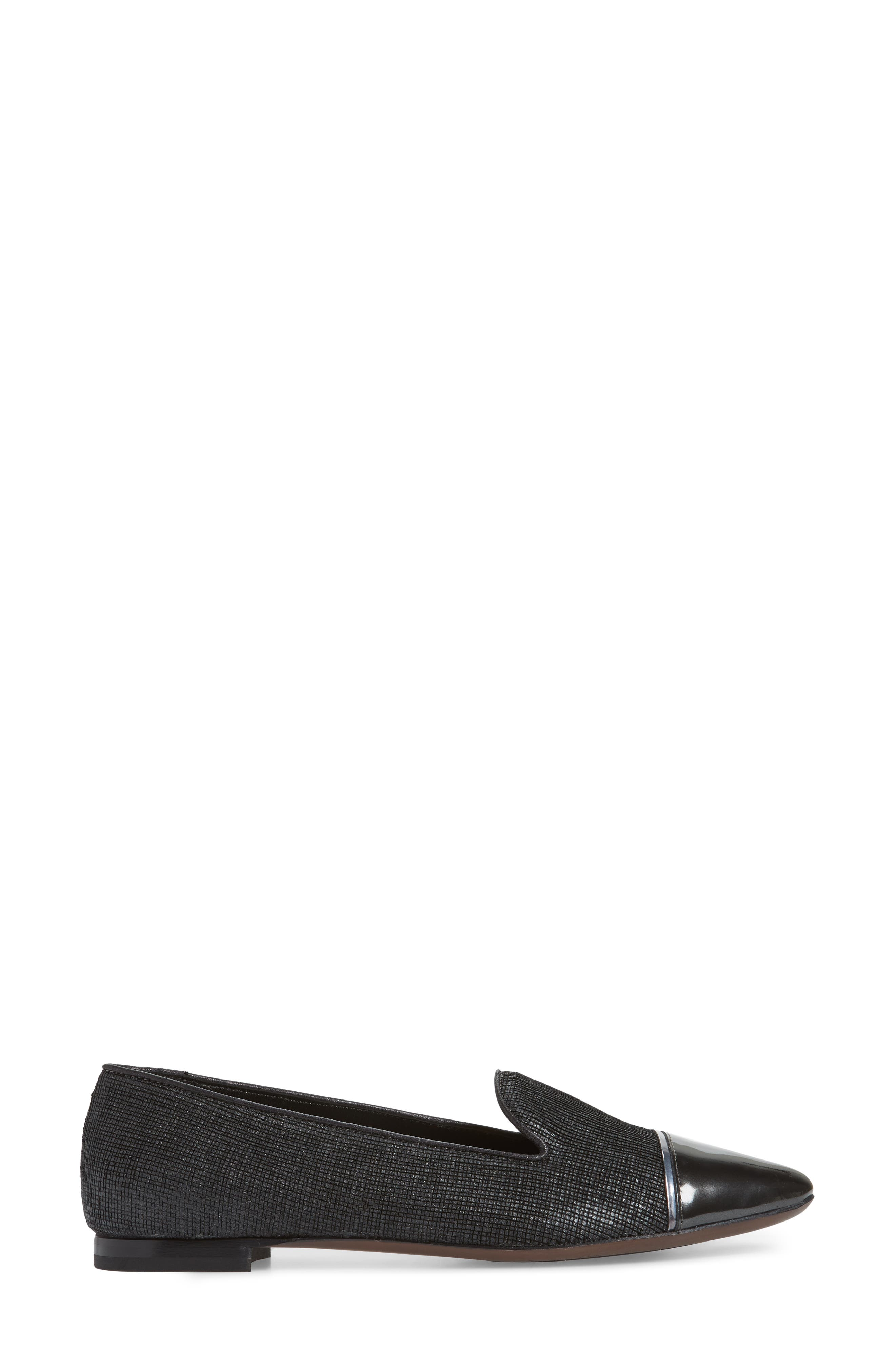 Cap Toe Loafer,                             Alternate thumbnail 3, color,                             BLACK FLAKED LEATHER