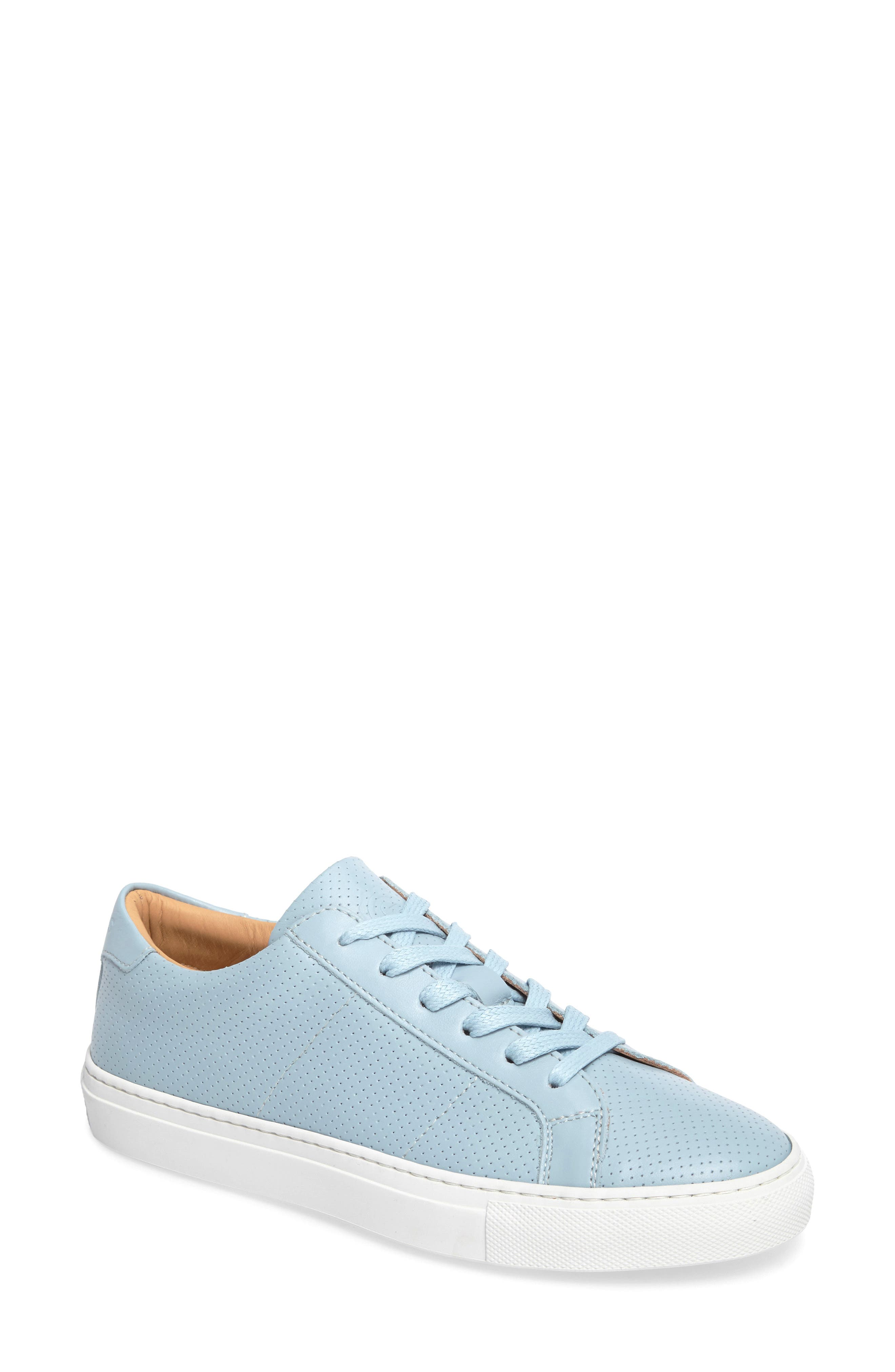 GREATS Royale Perforated Low Top Sneaker in Light Blue Perforated Leather