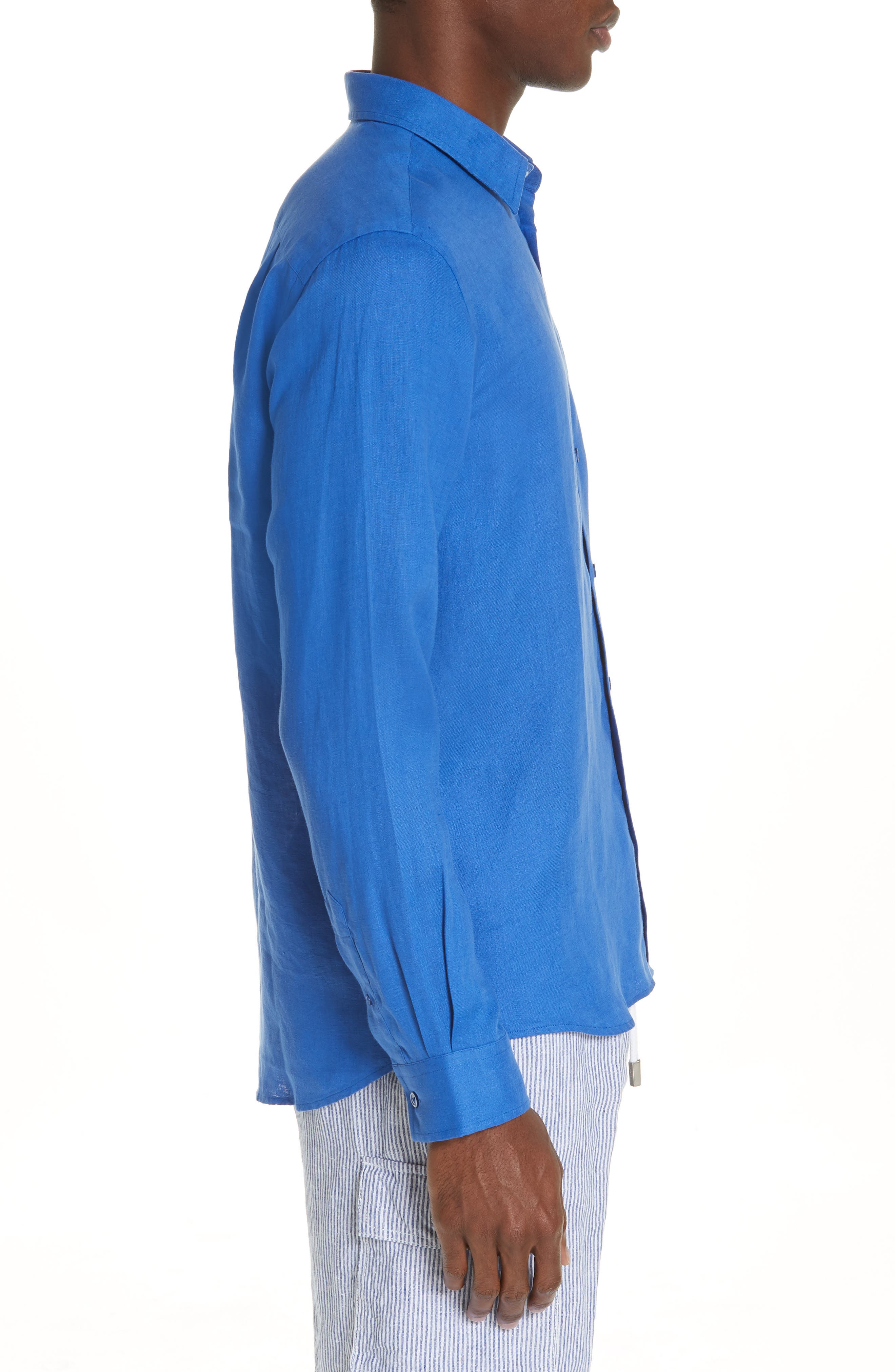 Linen Sport Shirt,                             Alternate thumbnail 4, color,                             BLUE 2