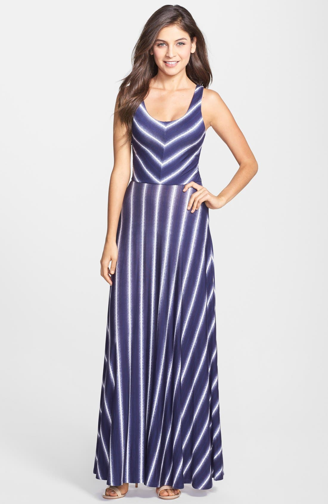 Stripe Scoop Neck Maxi Dress,                             Main thumbnail 1, color,                             429