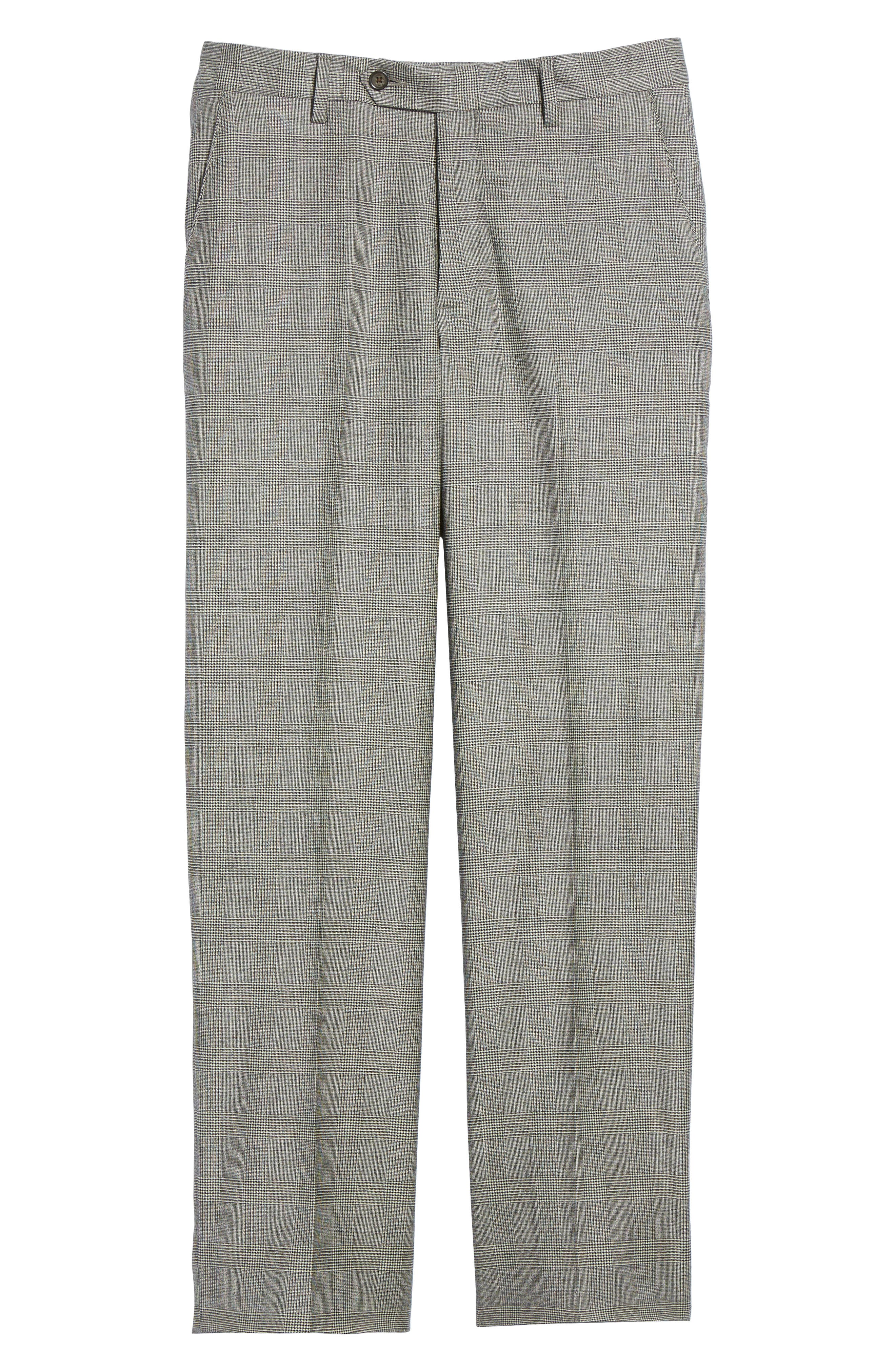 Flat Front Stretch Plaid Wool Trousers,                             Alternate thumbnail 6, color,                             BLACK/ WHITE