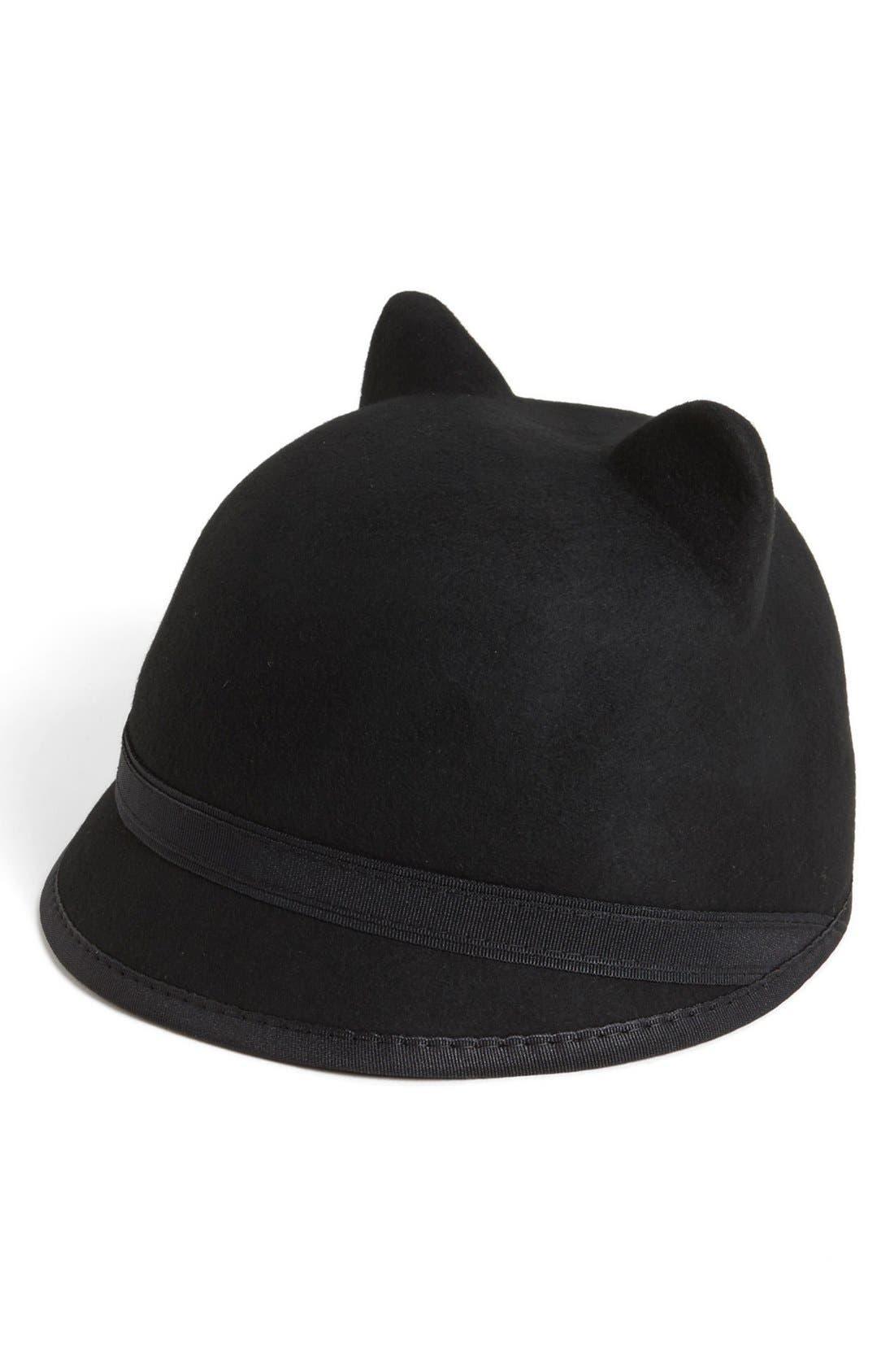 BCBG,                             AXAZRIA Kitty Cat Baseball Cap,                             Main thumbnail 1, color,                             001