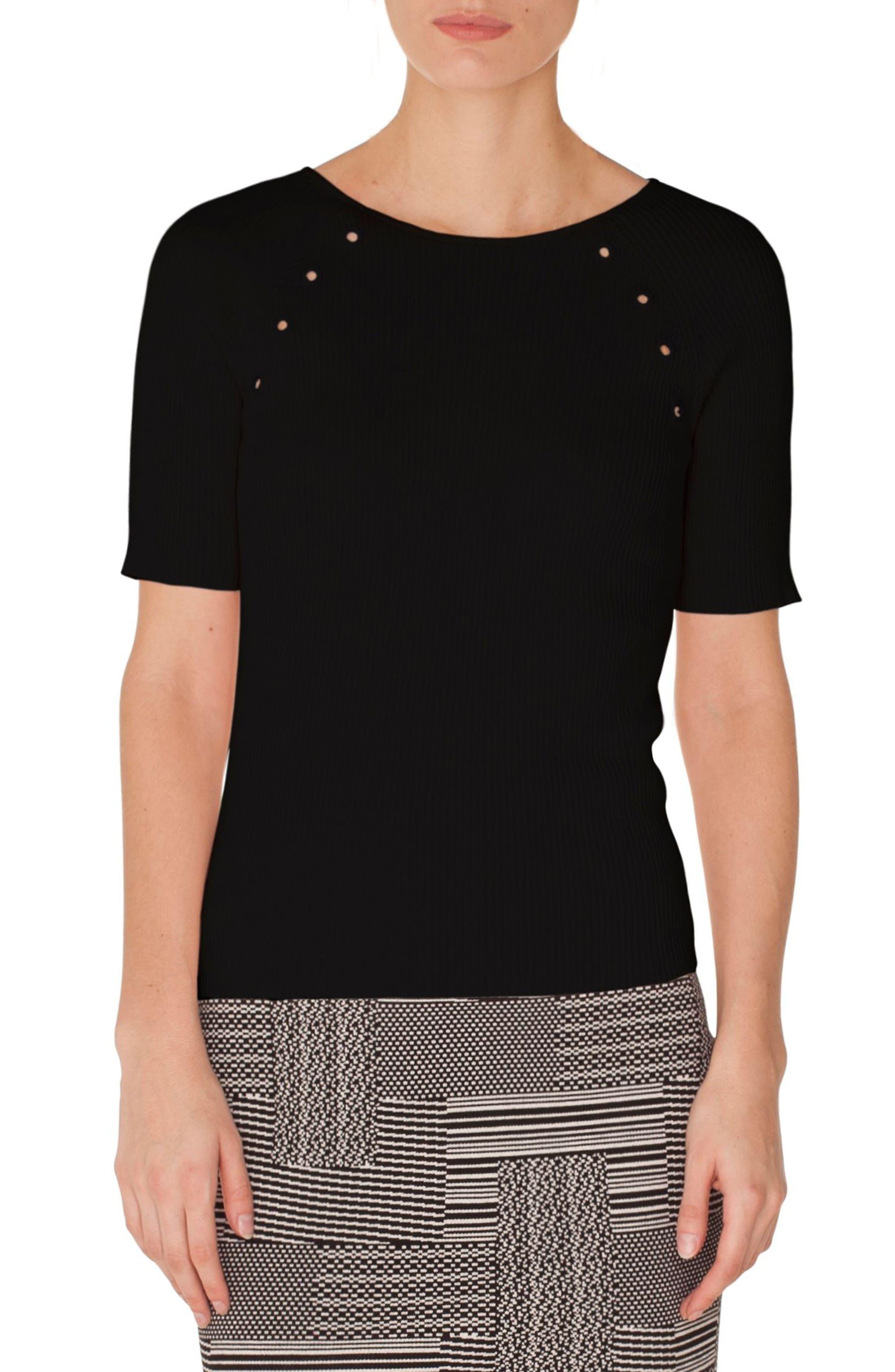 Akris Punto Grommet Detail Knit Top, Black