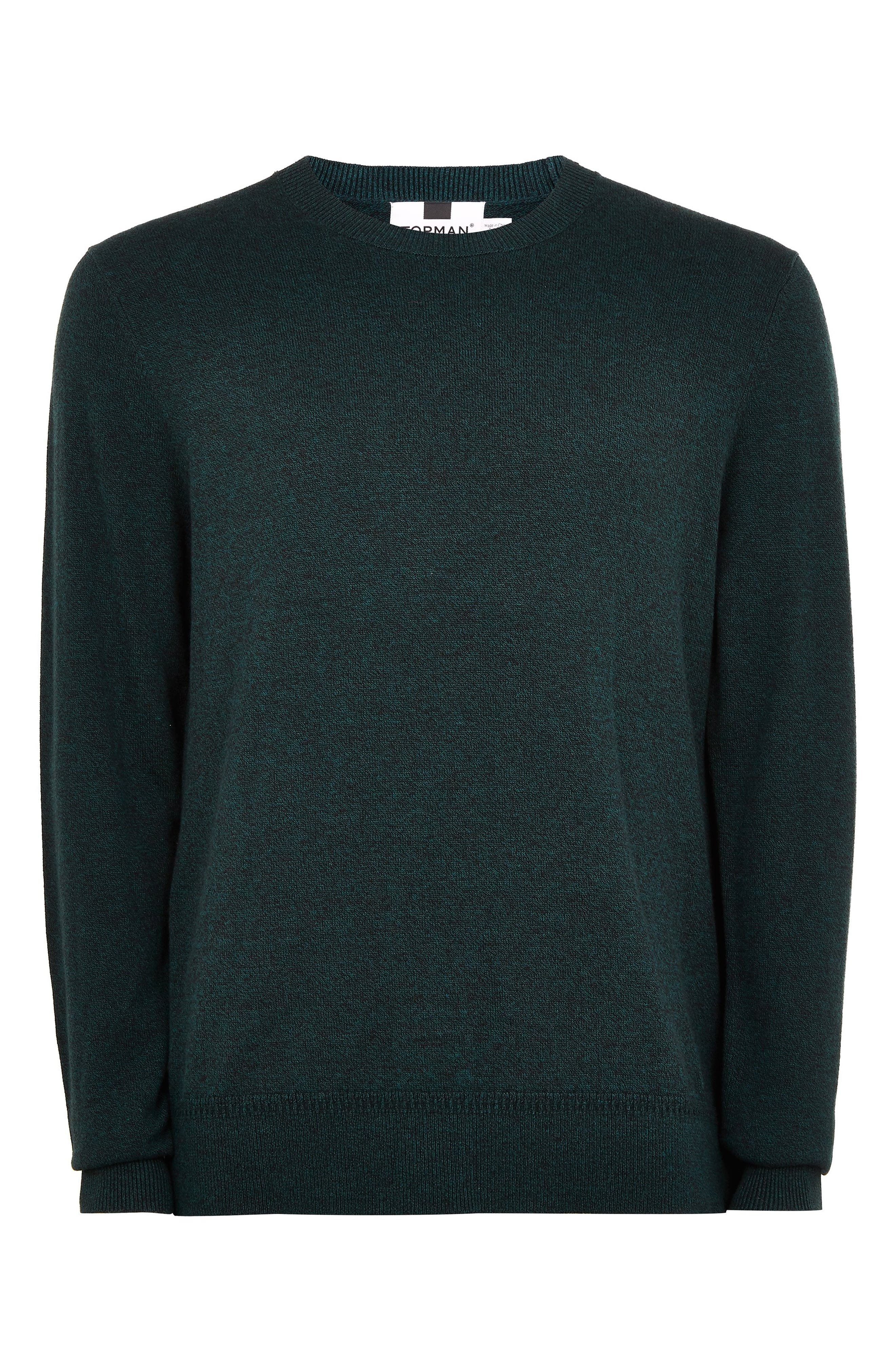 Marl Crewneck Sweater,                             Alternate thumbnail 4, color,                             GREEN