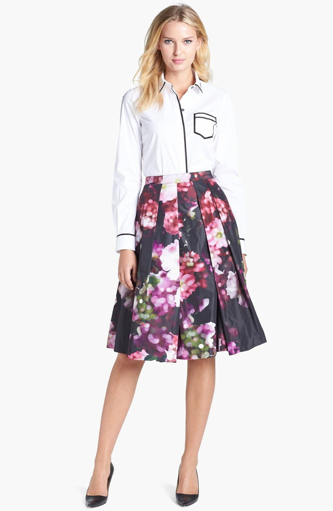 Floral Print Pleated Midi Skirt,                             Alternate thumbnail 5, color,                             540