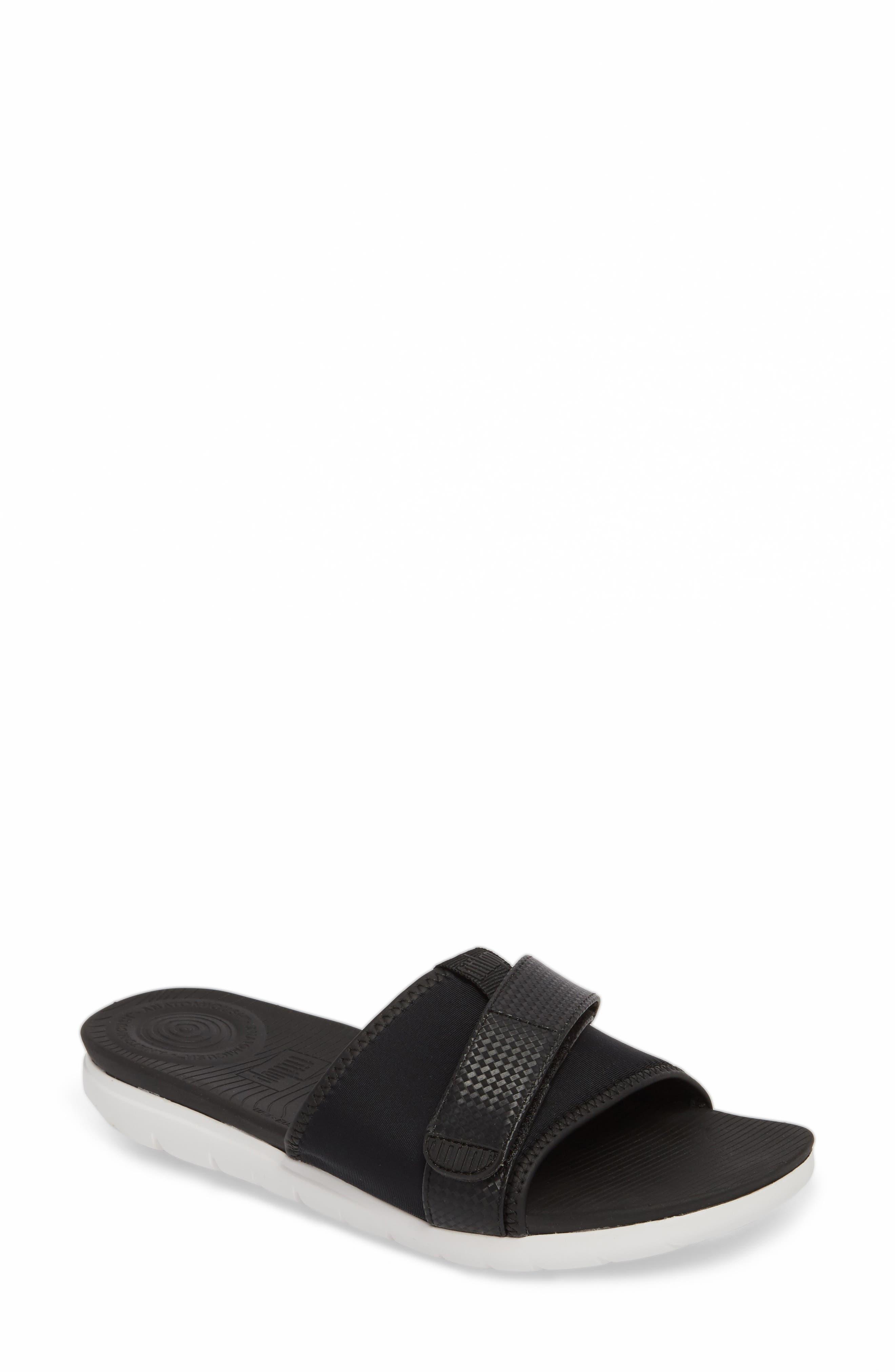 Neoflex Slide Sandal,                             Main thumbnail 1, color,                             BLACK FABRIC