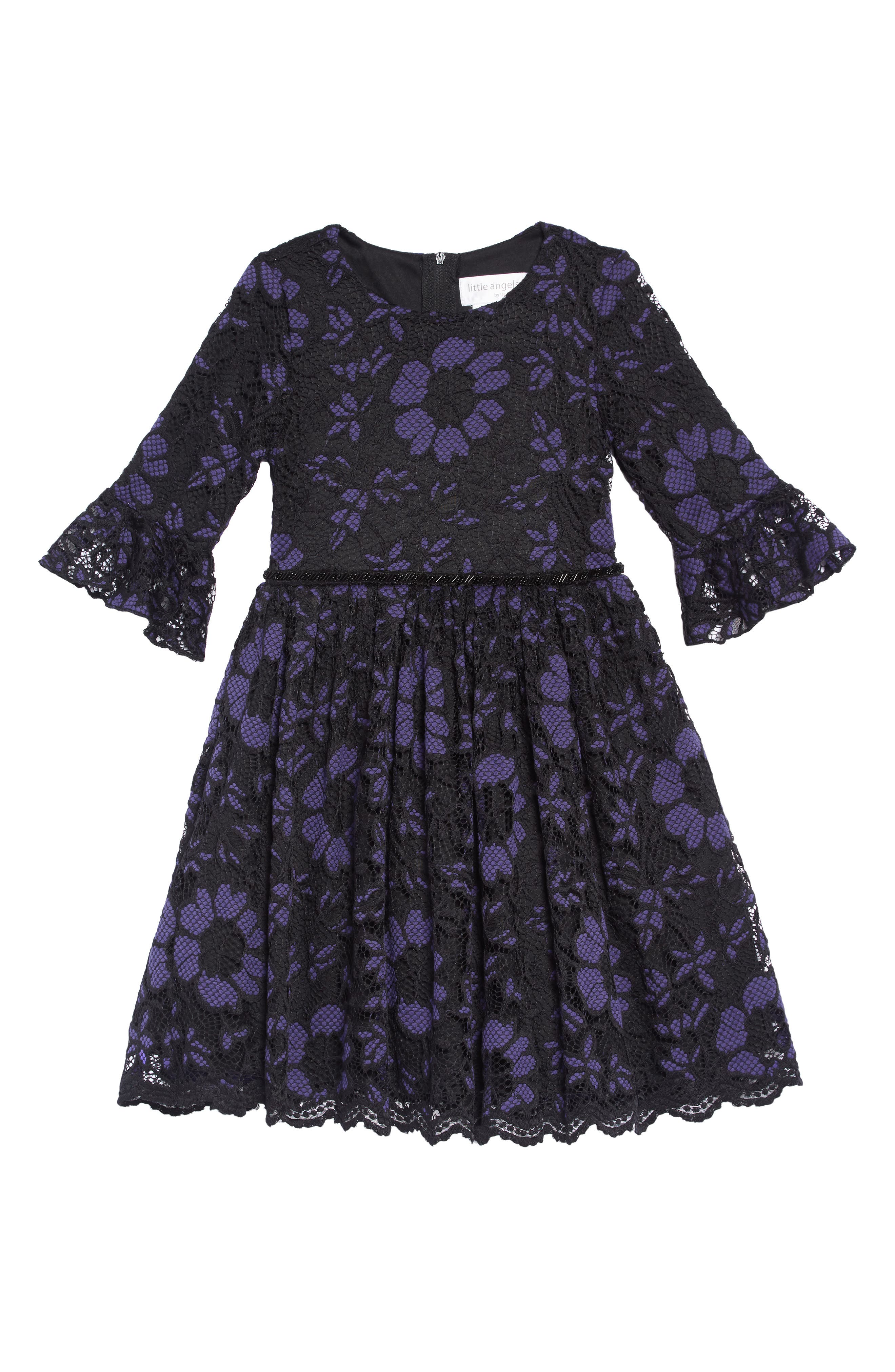 Lace Overlay Dress,                         Main,                         color, ROYAL