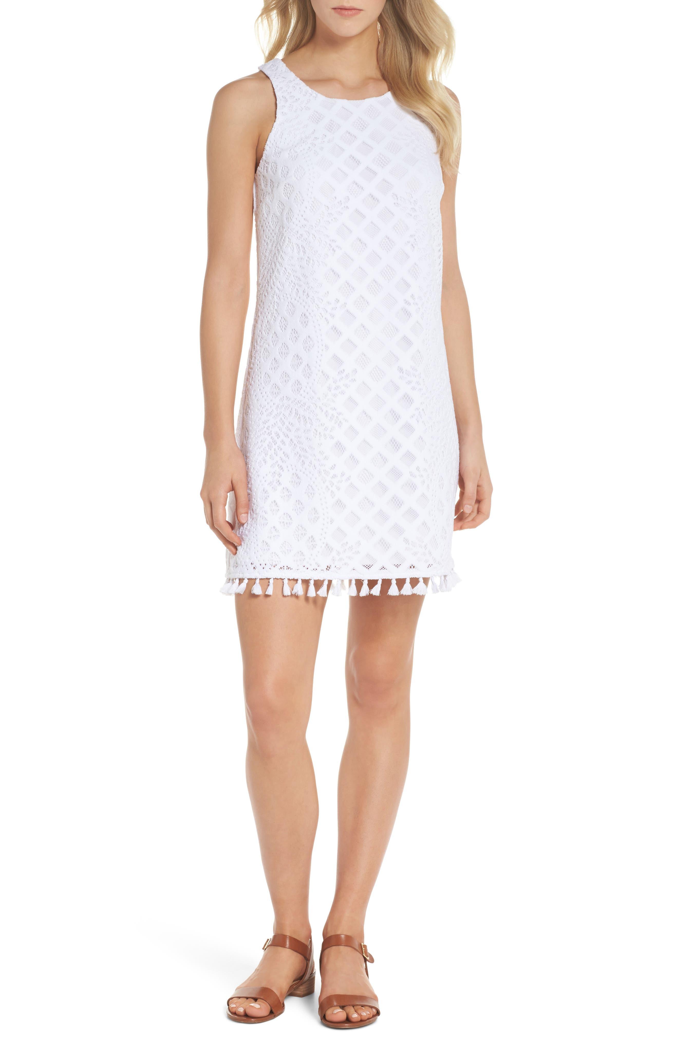 Marquette Lace Shift Dress,                             Main thumbnail 1, color,                             115