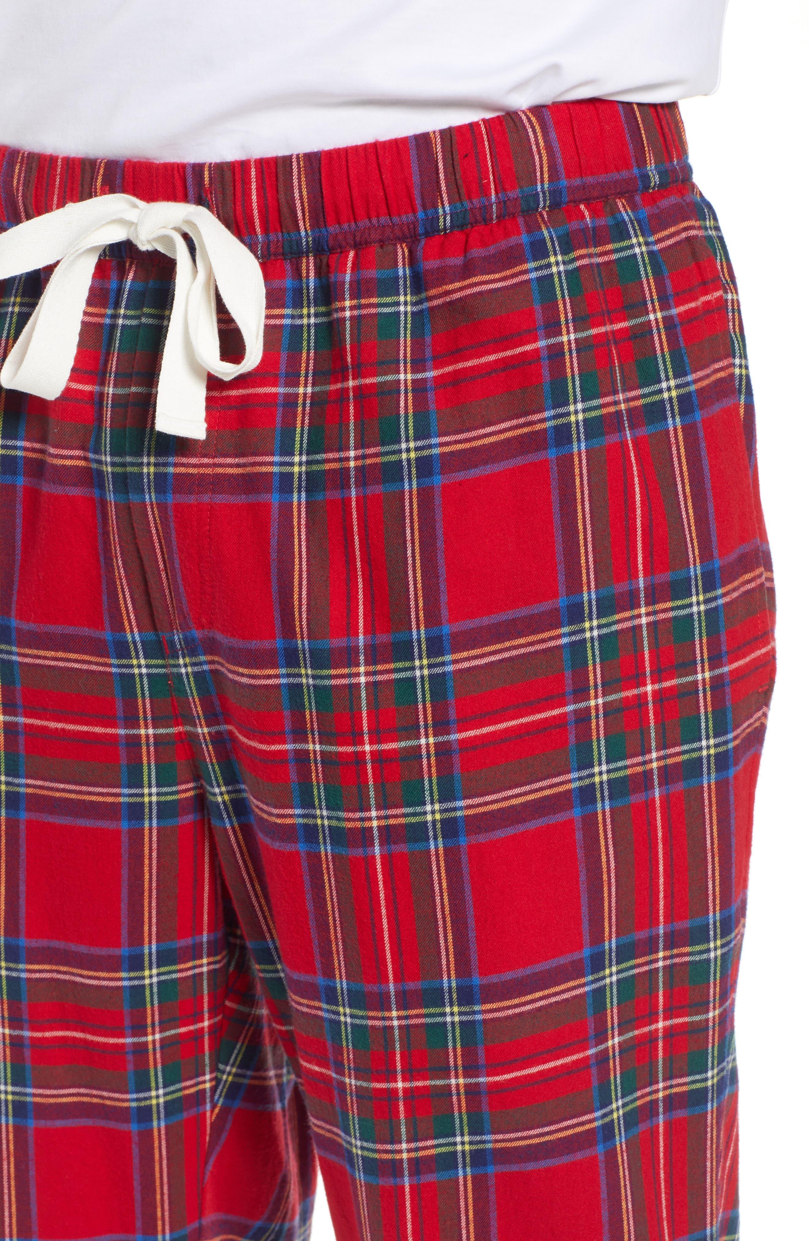 Jolly Plaid Cotton Flannel Pajama Pants,                             Alternate thumbnail 4, color,                             786