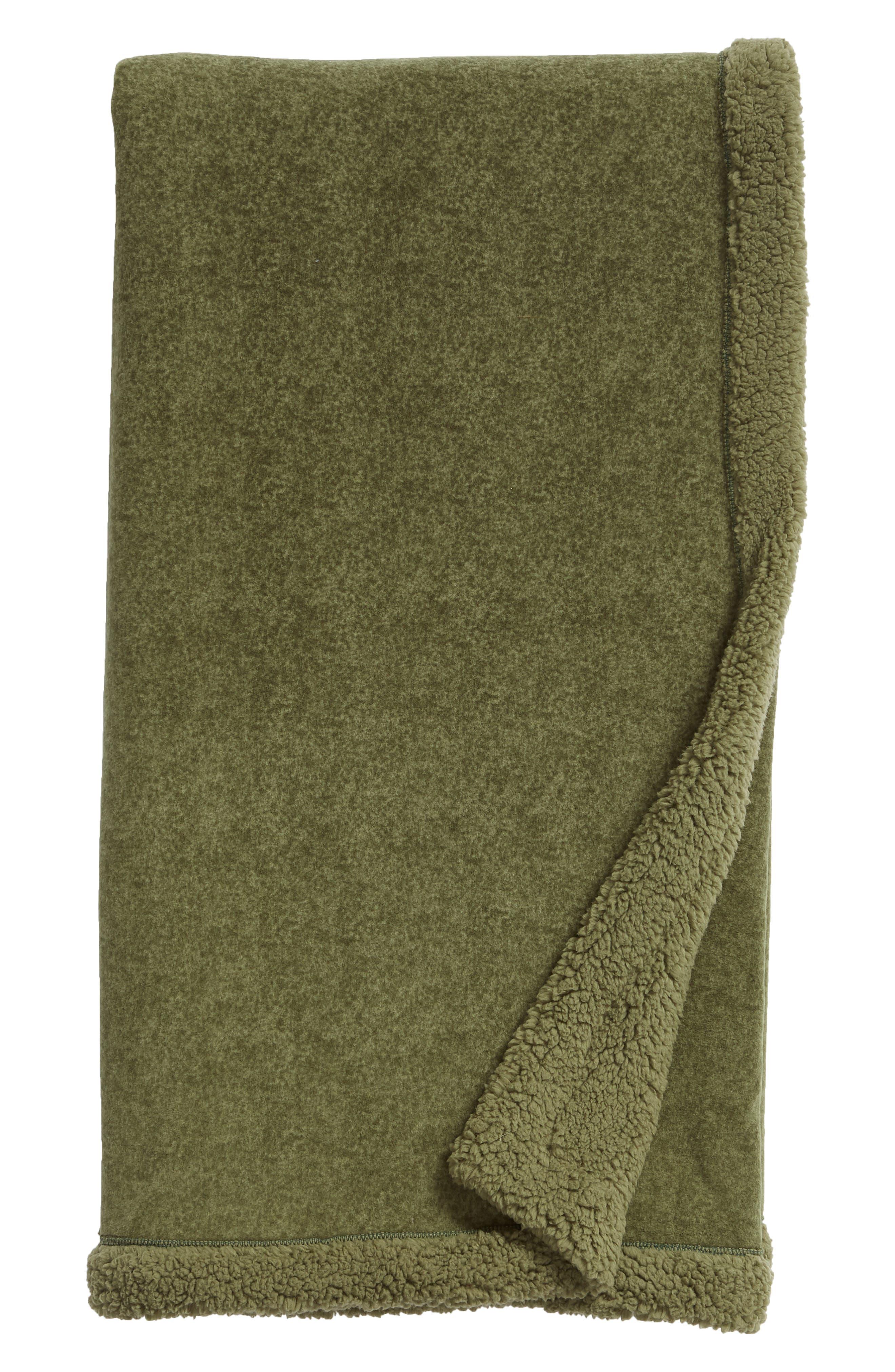 Fleece Throw,                             Main thumbnail 1, color,                             GREEN SORREL
