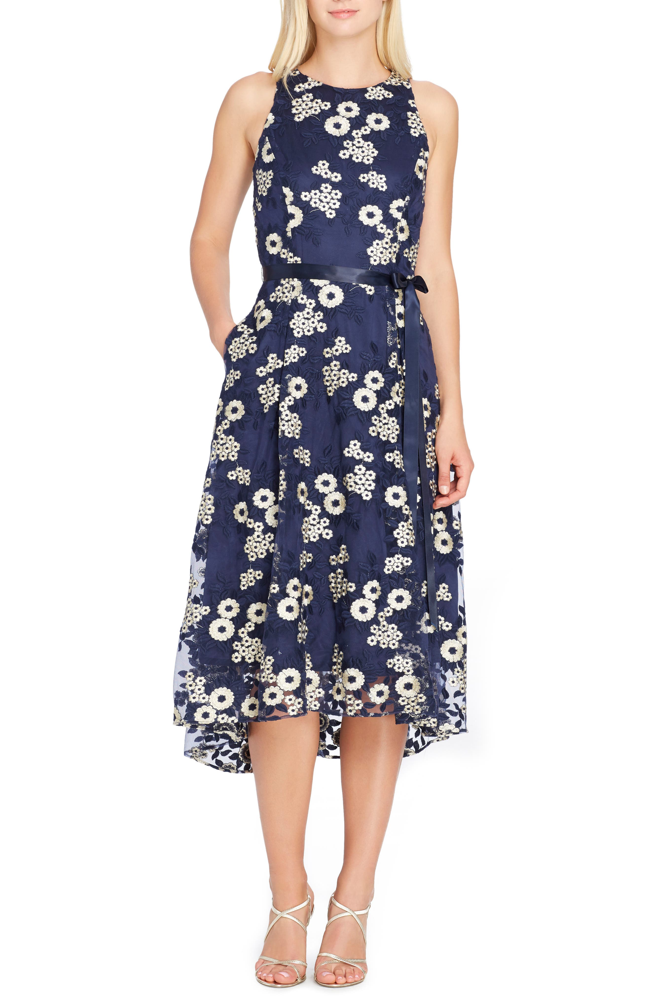 TAHARI Floral Embroidered Dress, Main, color, NAVY/ GOLD