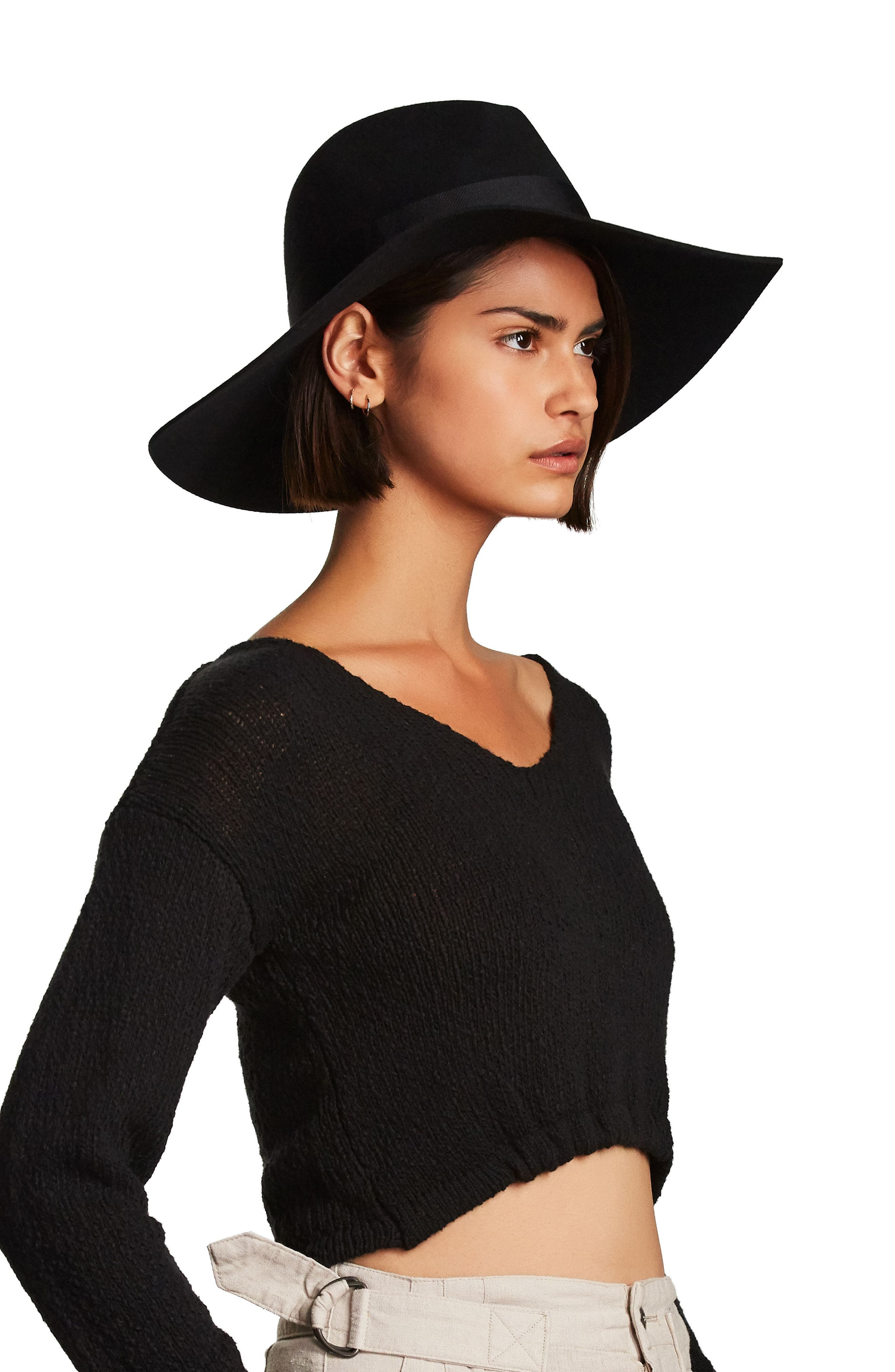 BRIXTON,                             'Piper' Floppy Wool Hat,                             Alternate thumbnail 3, color,                             TAN/ DARK BROWN
