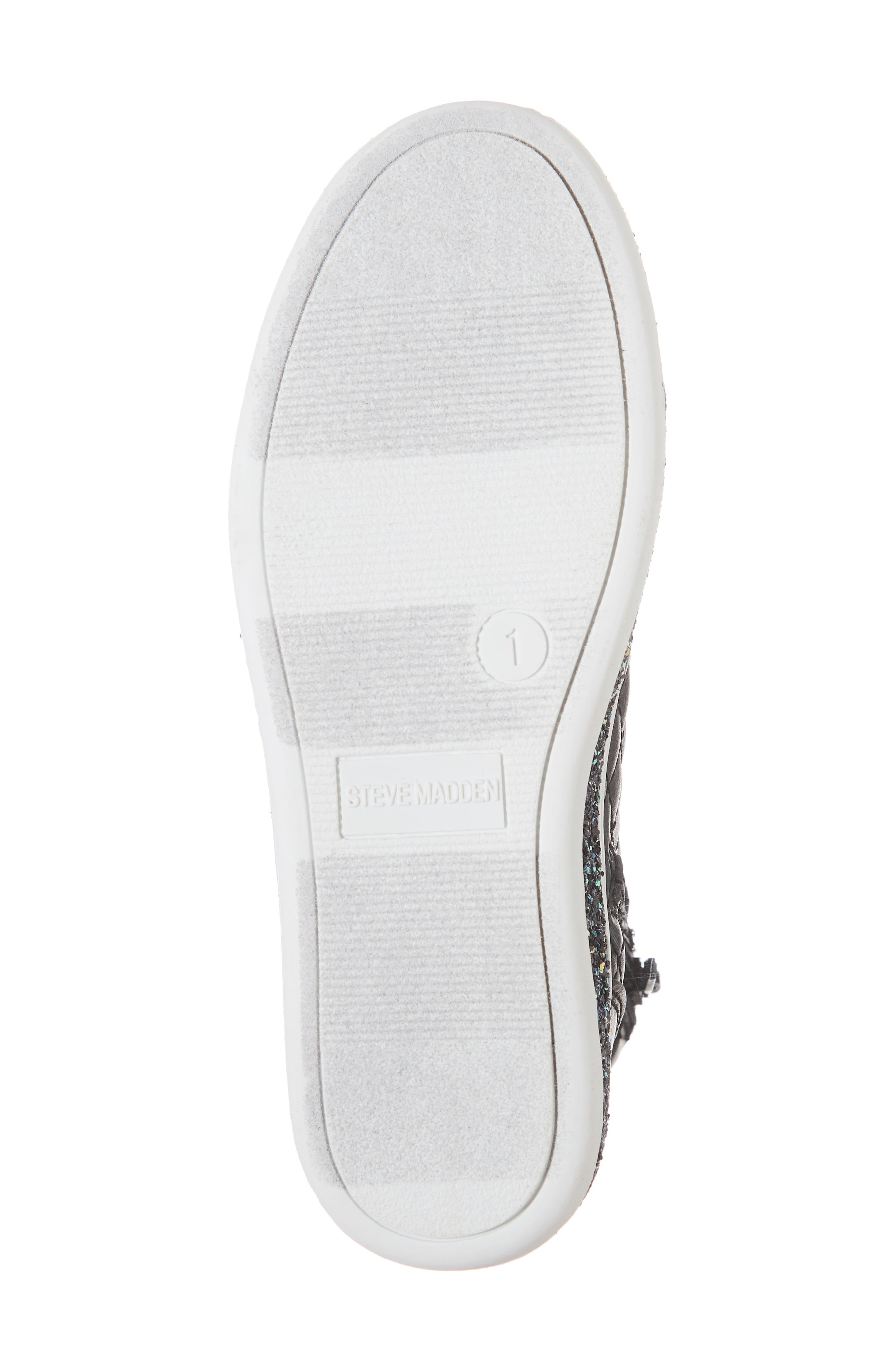 Glittery High Top Sneaker,                             Alternate thumbnail 6, color,                             BLACK
